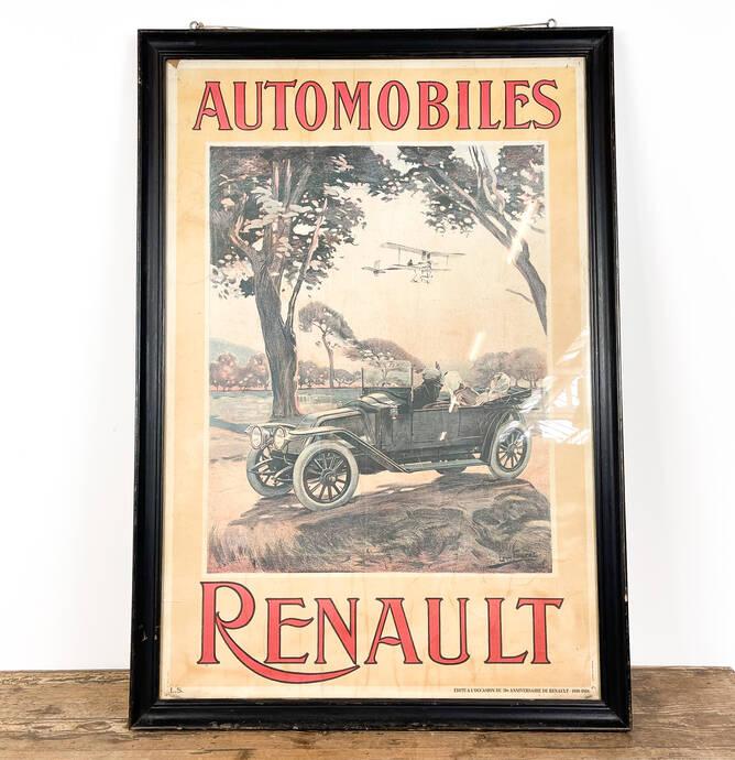 Vintage belgische Automobiles Renault affiche 70ste verjaardag