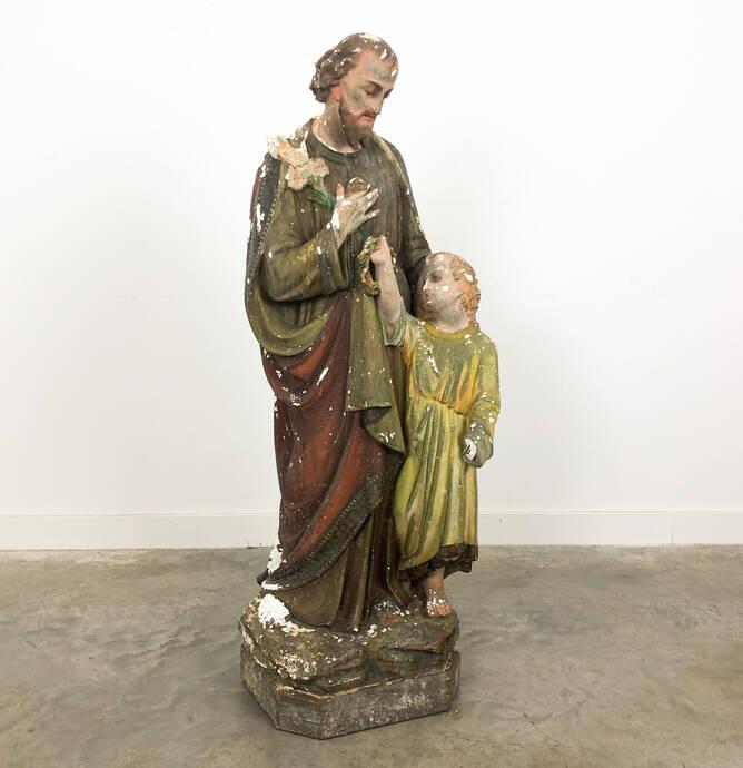 Groot vintage gips beeld heilige St. Joseph en kind Jezus