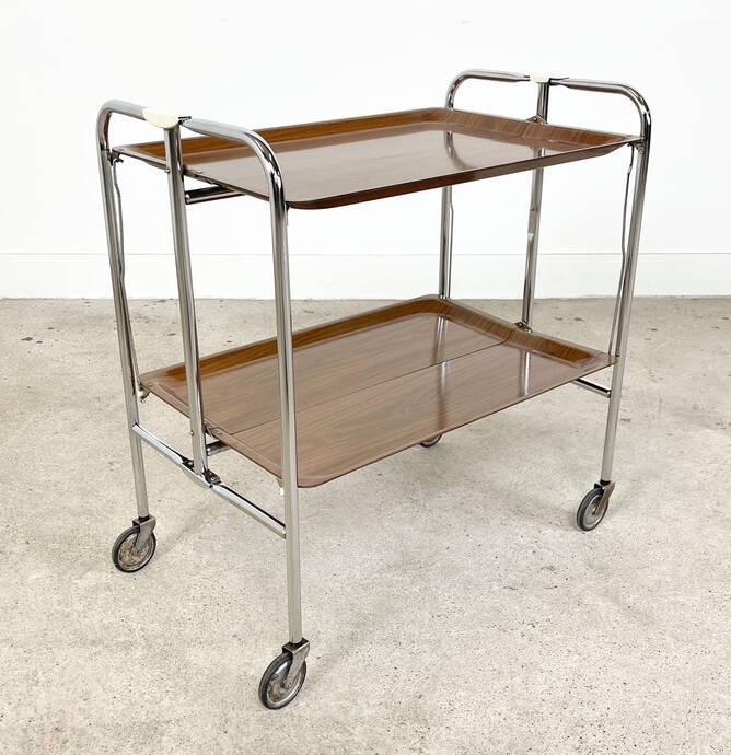 Vintage midcentury inklapbare serveerwagen