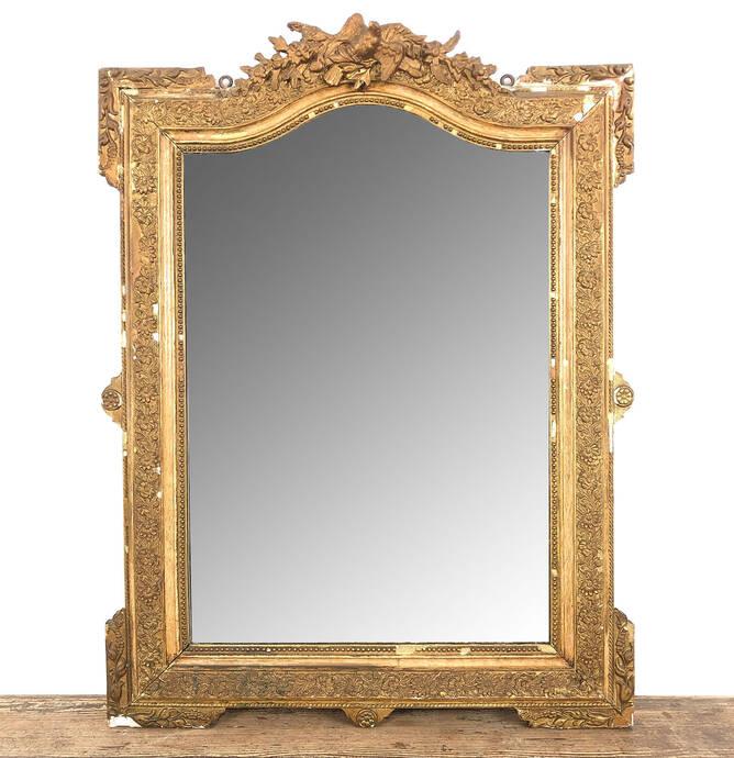 Franse antieke Napoleon III vergulde spiegel
