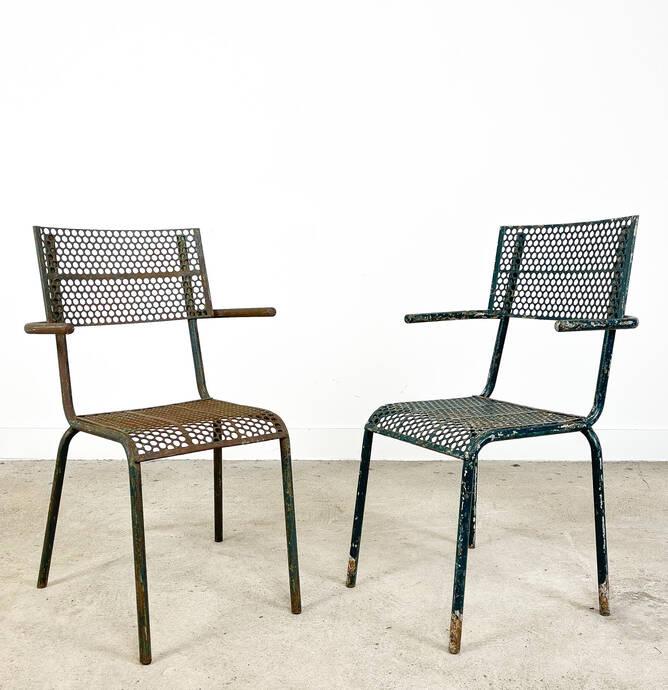 Set van twee vintage industriele bistrostoelen door Rene Malaval