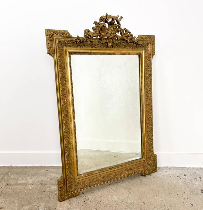 Franse antieke vergulde spiegel Napoleon III