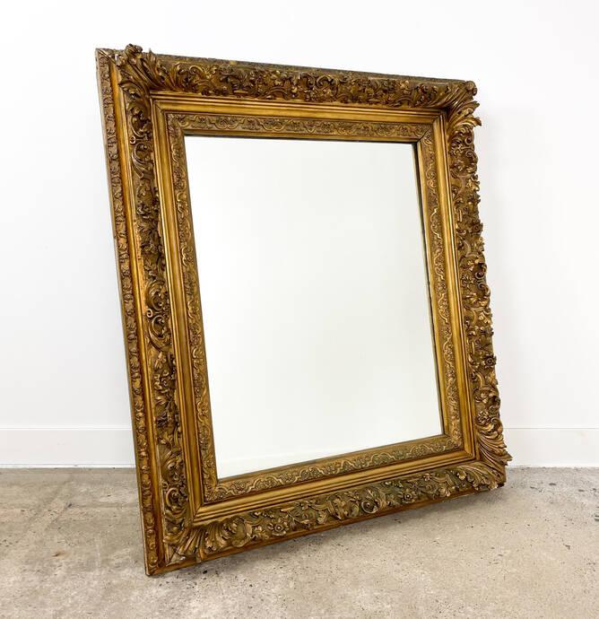 Franse antieke vergulde spiegel 19e eeuw