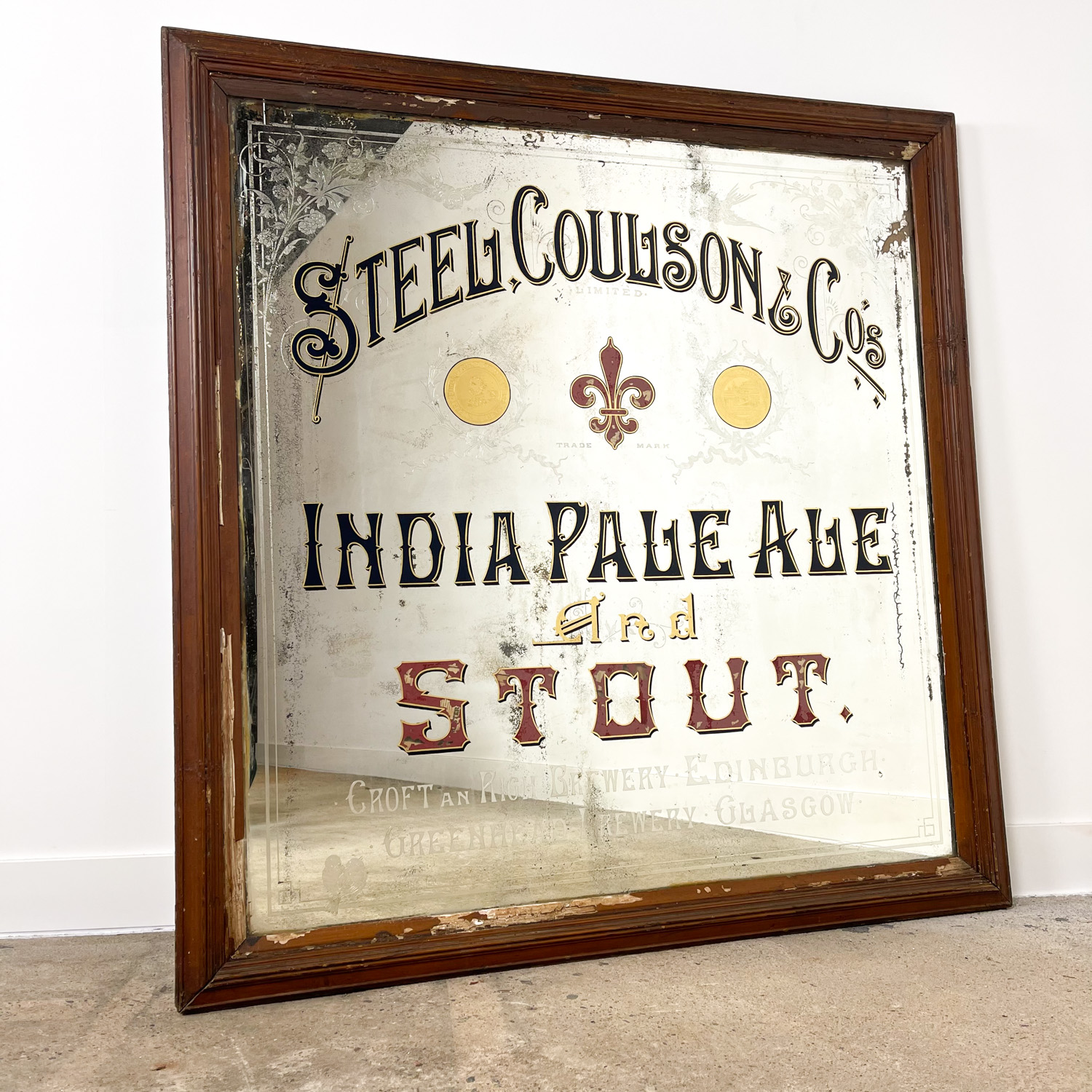 Antieke pub spiegel India pale ale Stout van Steel Coulson & Co 1873