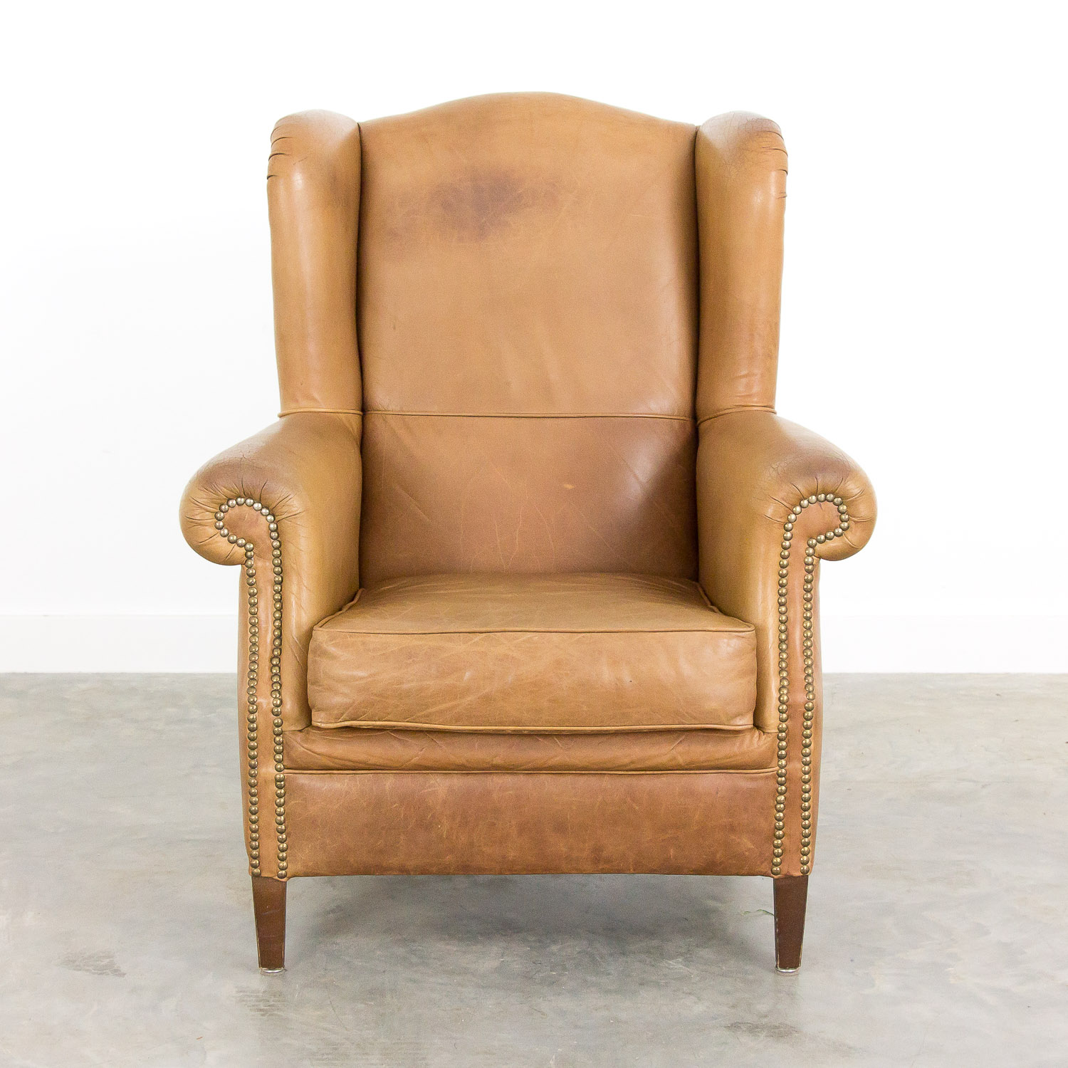 Phenomenal Vintage Leather Wingback Armchair Gmtry Best Dining Table And Chair Ideas Images Gmtryco
