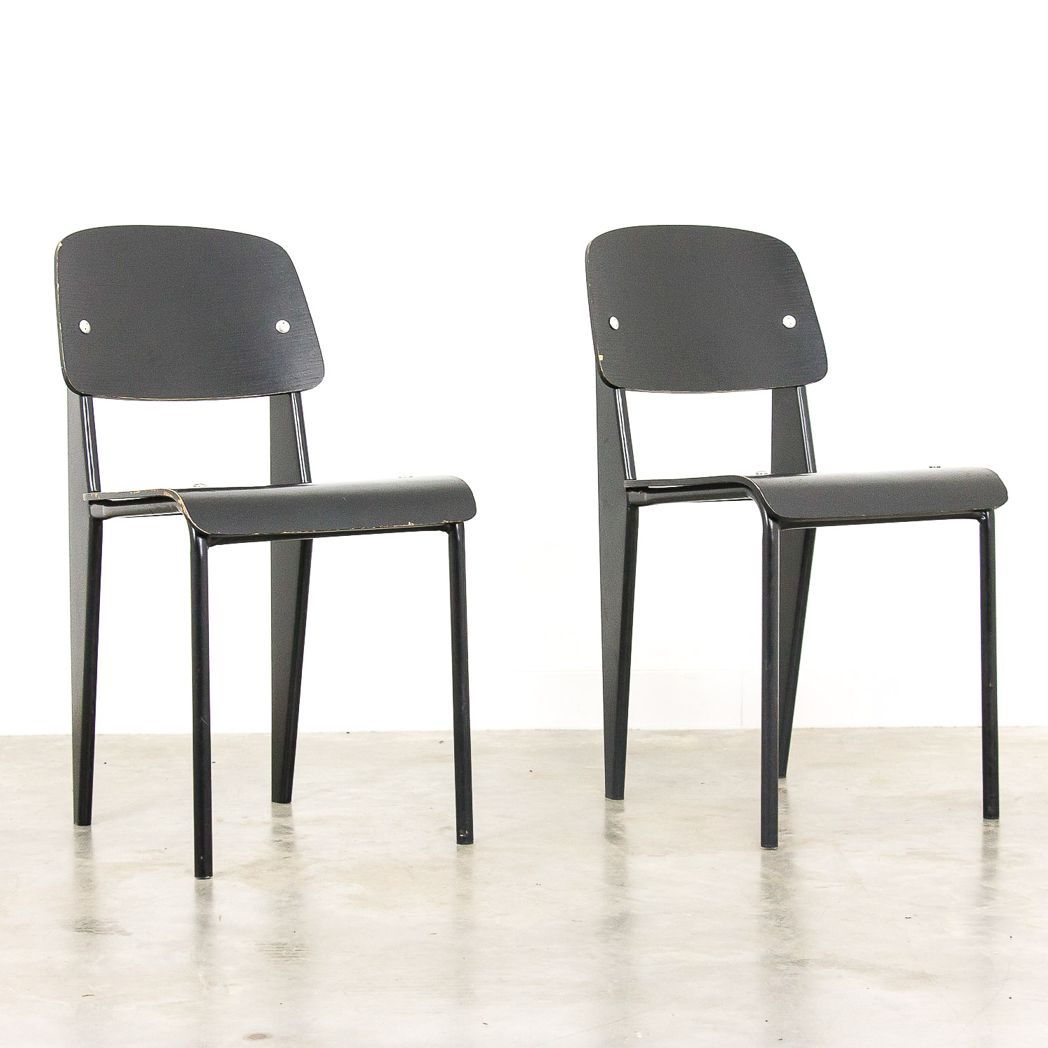 Jean Prouvé style standard chair by Vitra set of 2