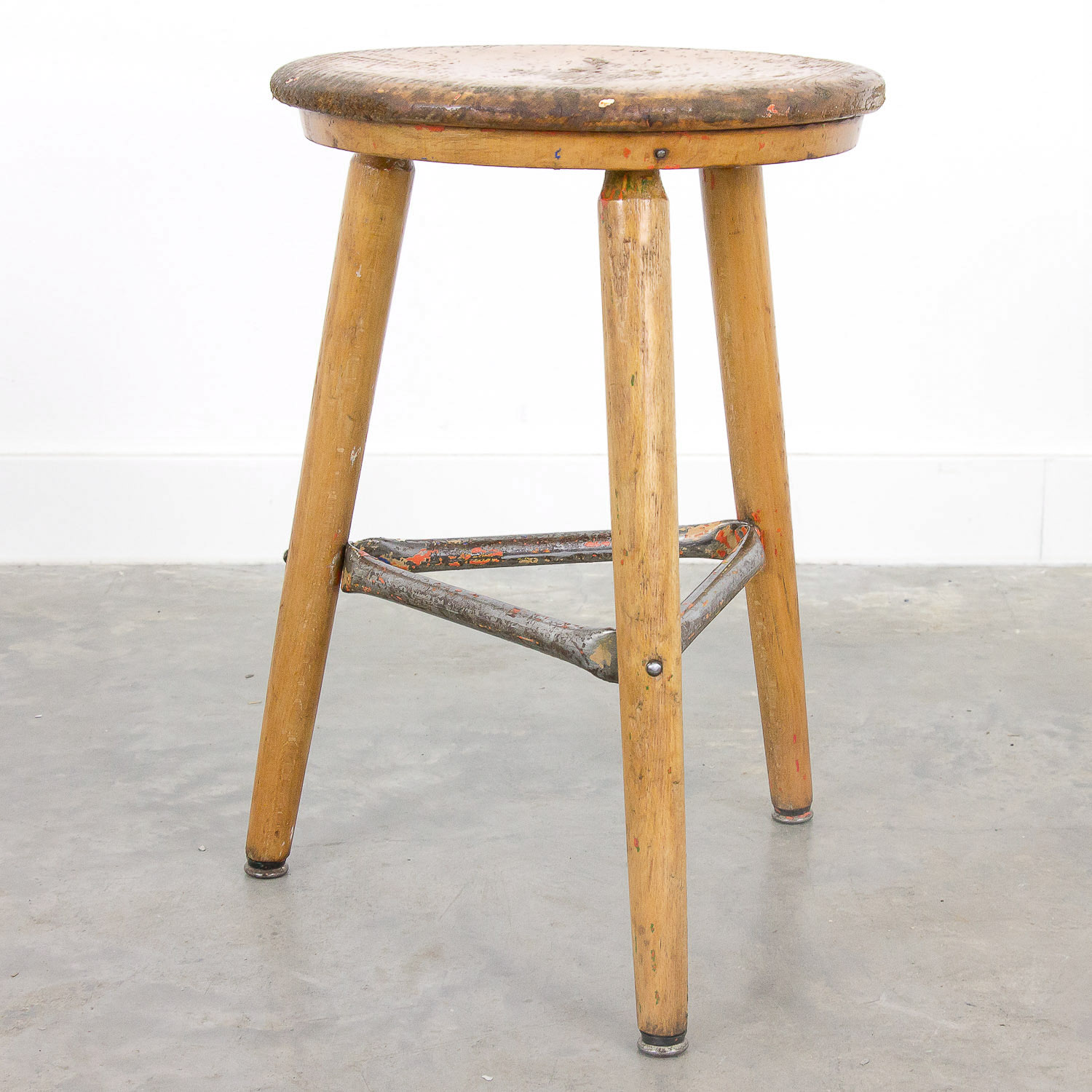 Vintage wooden stool by Hohenloher