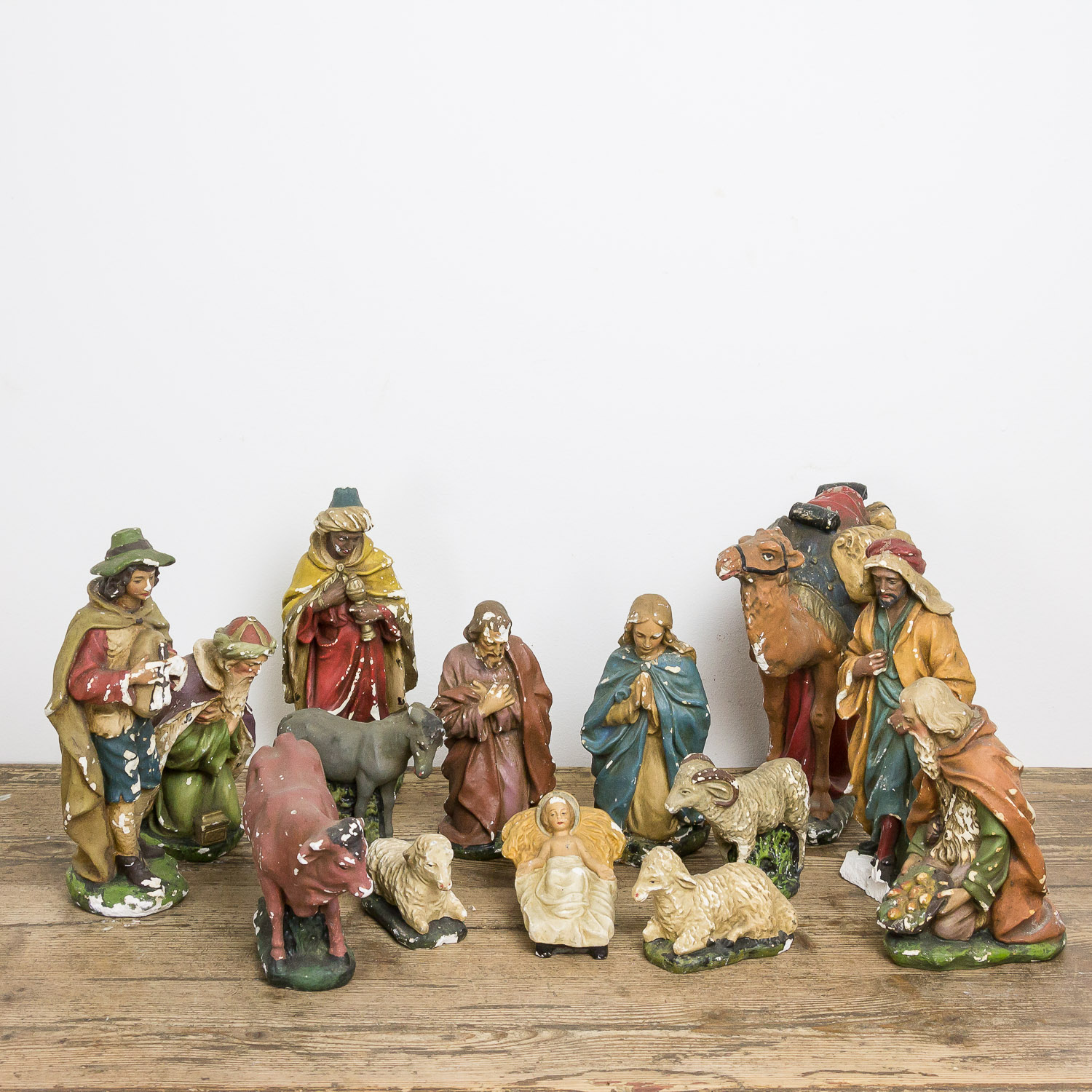 Antique nativity set plaster