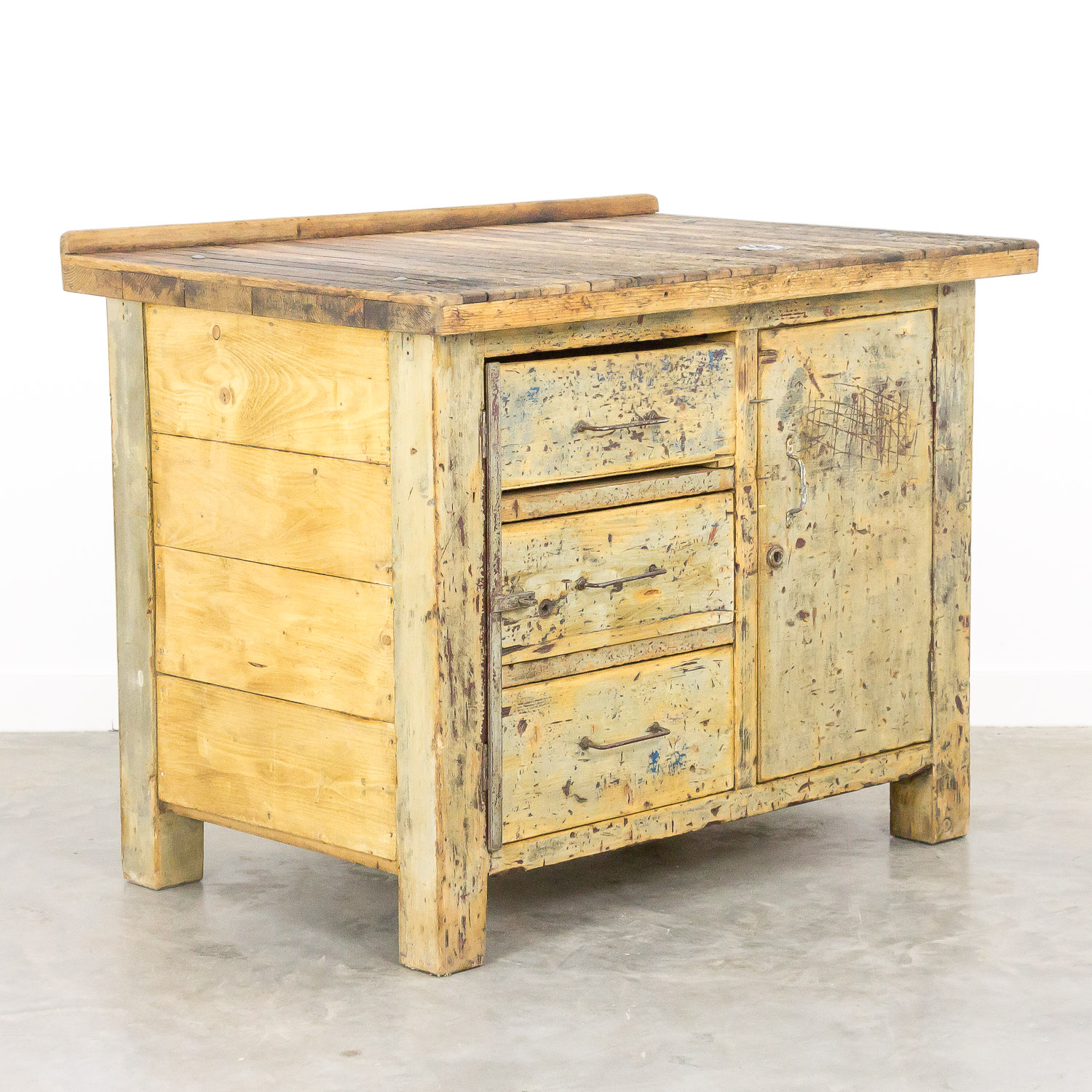 Industrial worktable patina