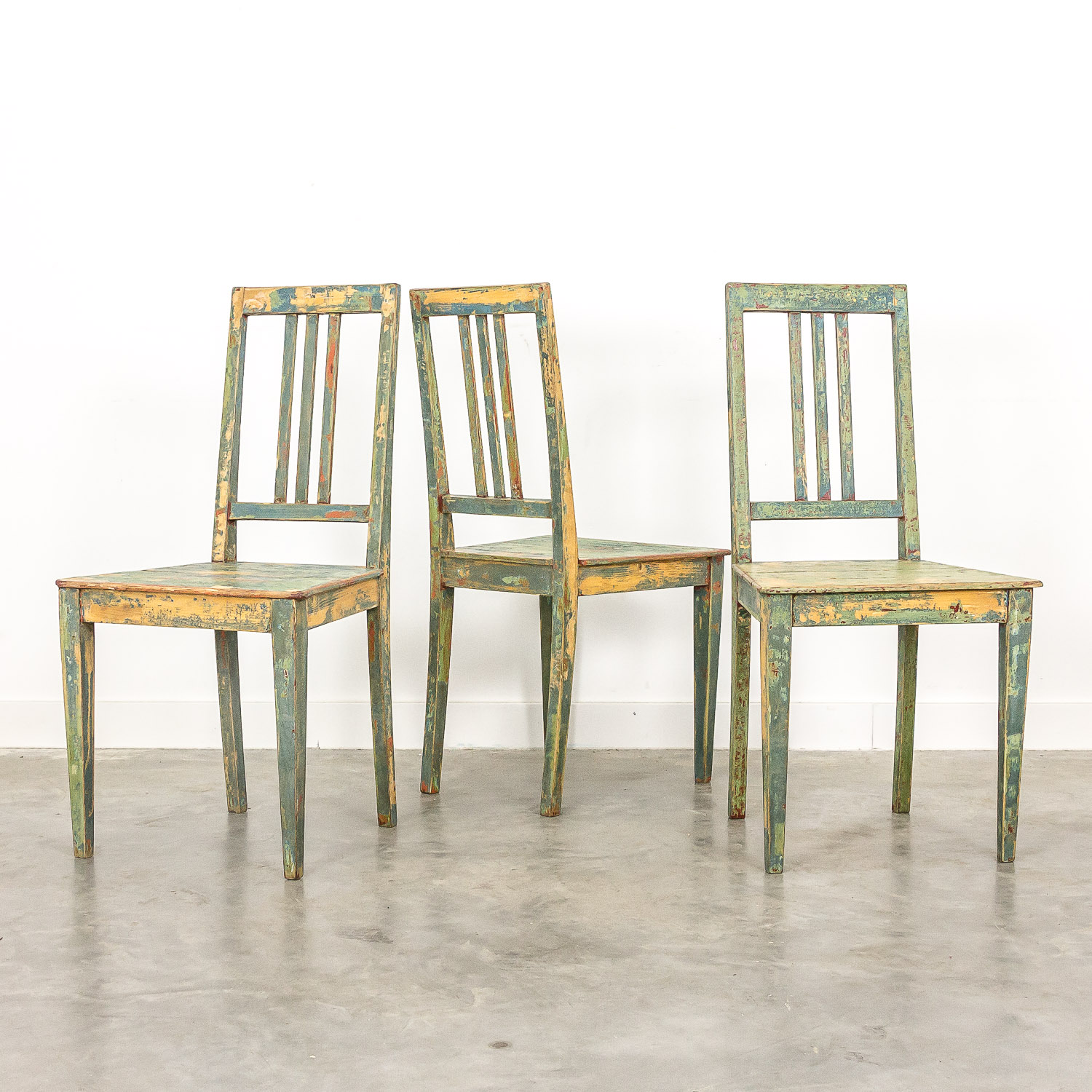Swedish farmhouse chairs set of 3