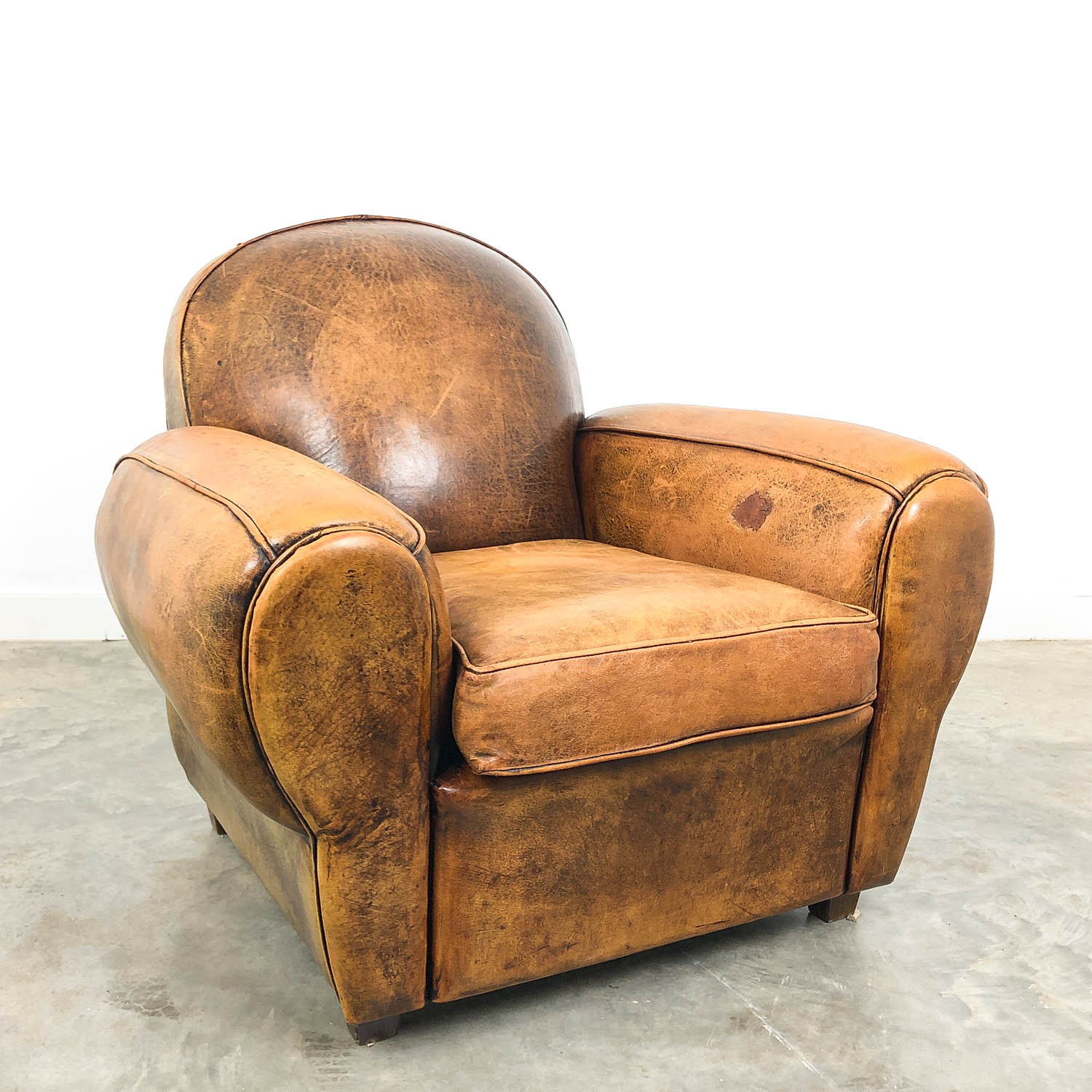 French art deco sheep leather club chair