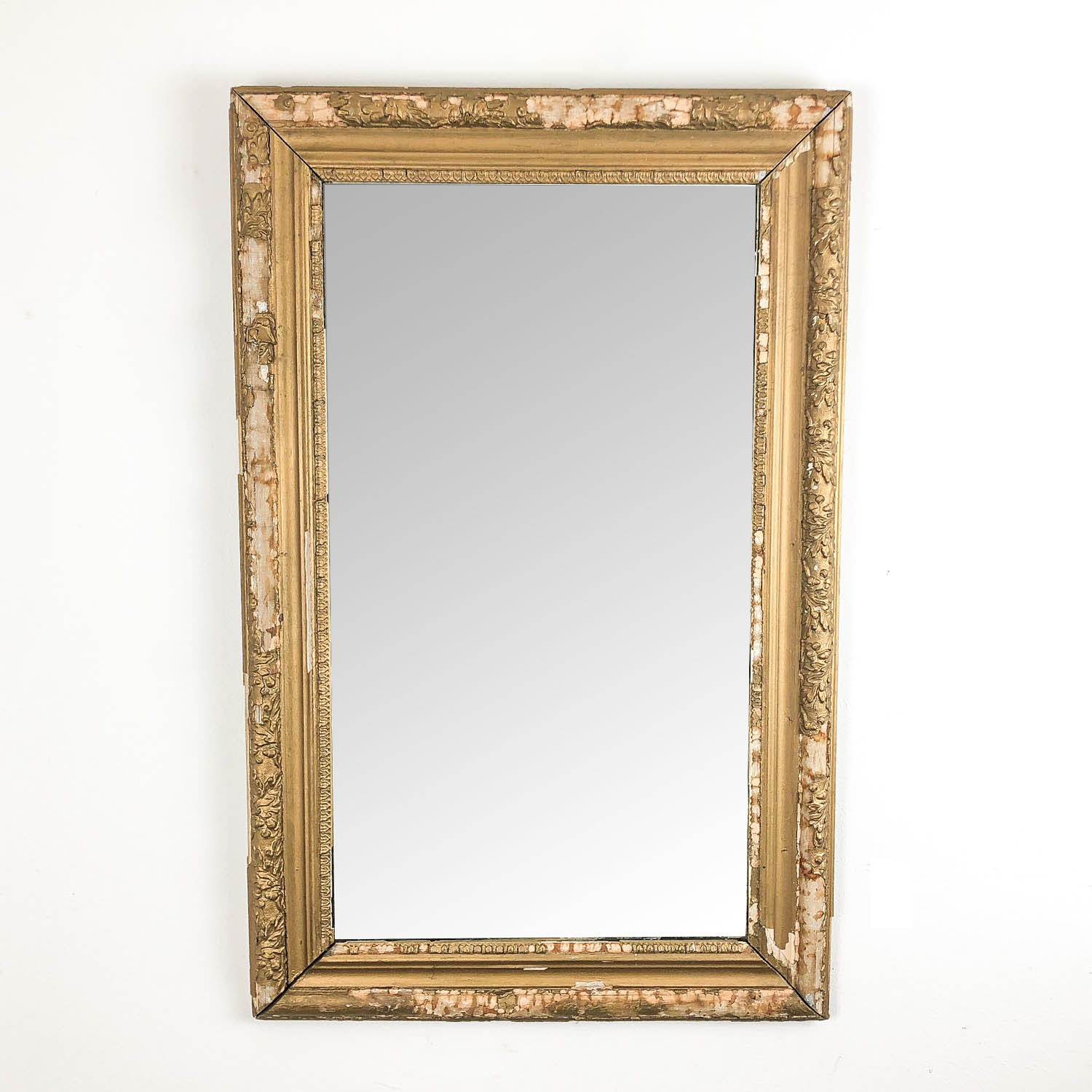 Distressed french antique golden mirror