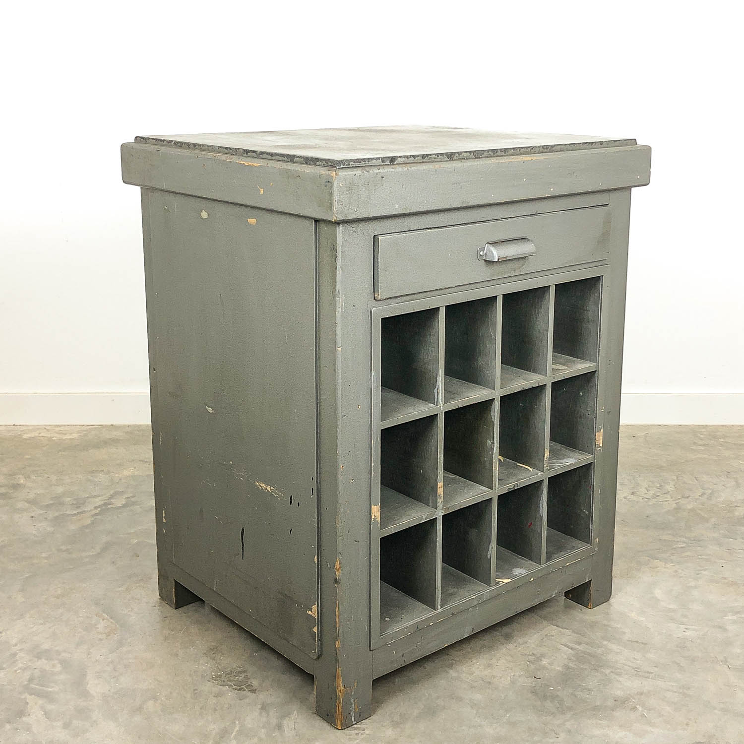 Vintage industrial printers table kitchen island with stone top