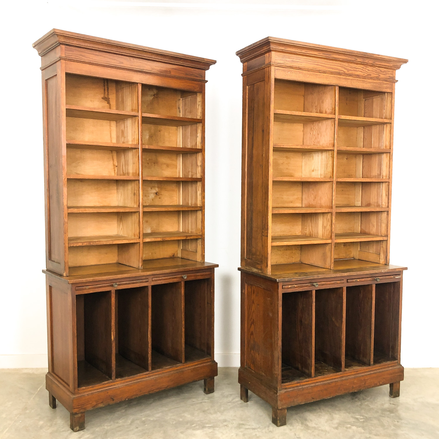Pair of antique open library bookcases