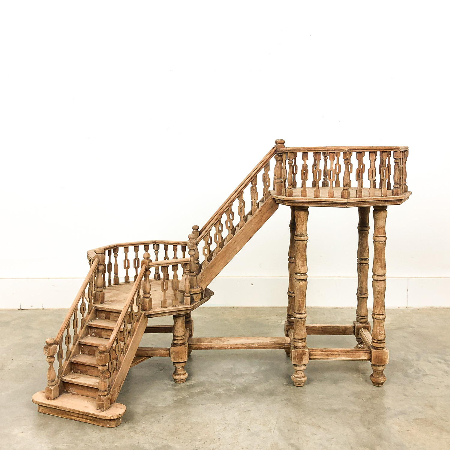 French Antique bleeched wooden staircase model