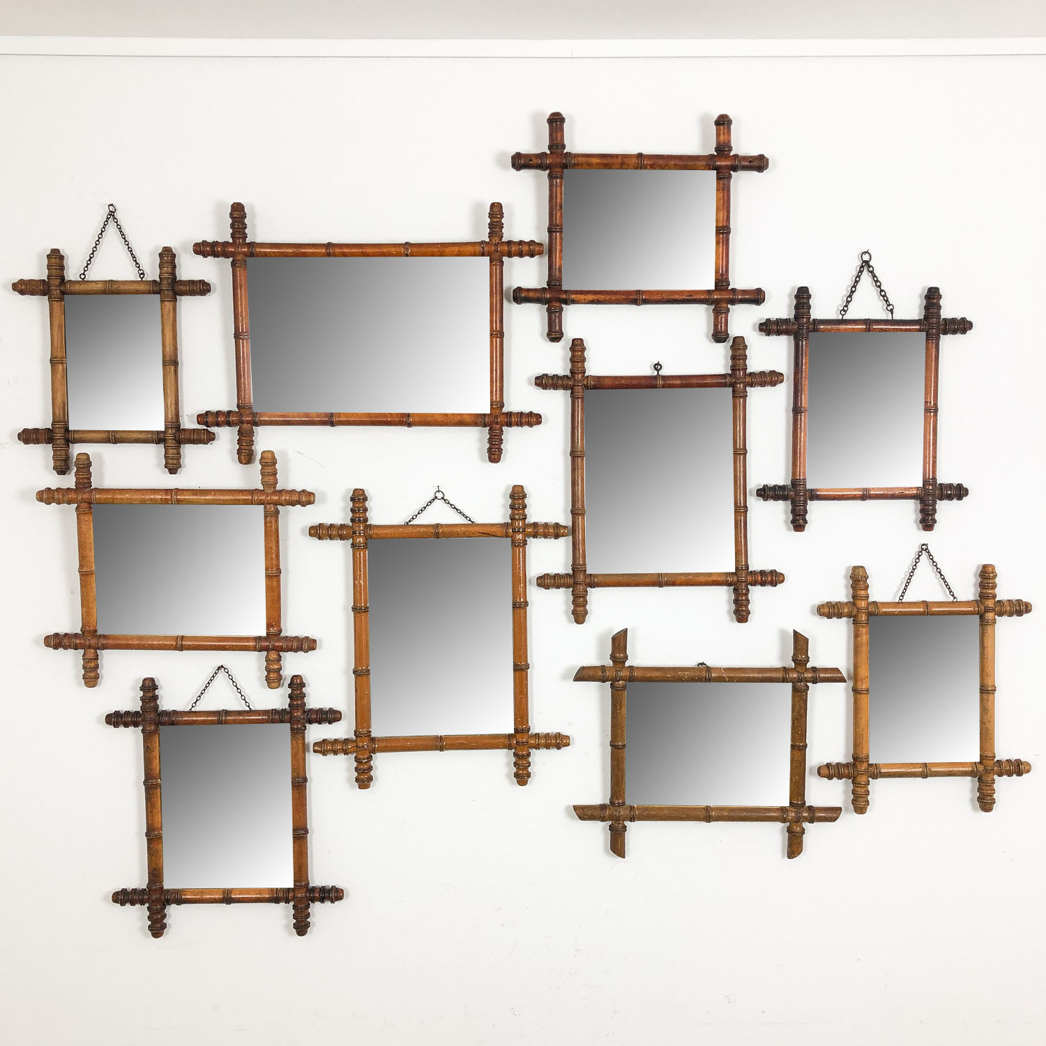 Collection of 10 French antique faux bamboo mirrors