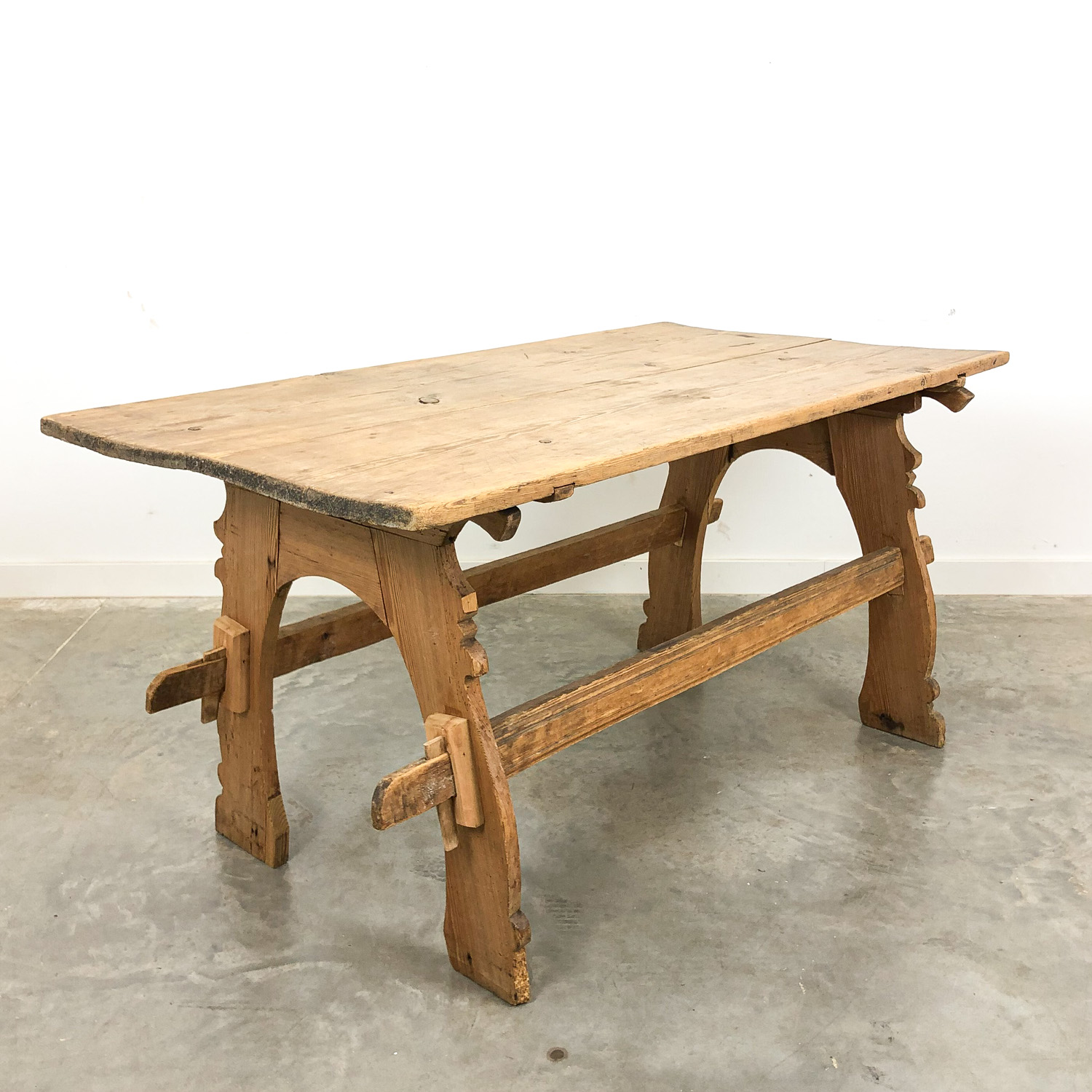 Swedish antique pine wooden farmhouse table