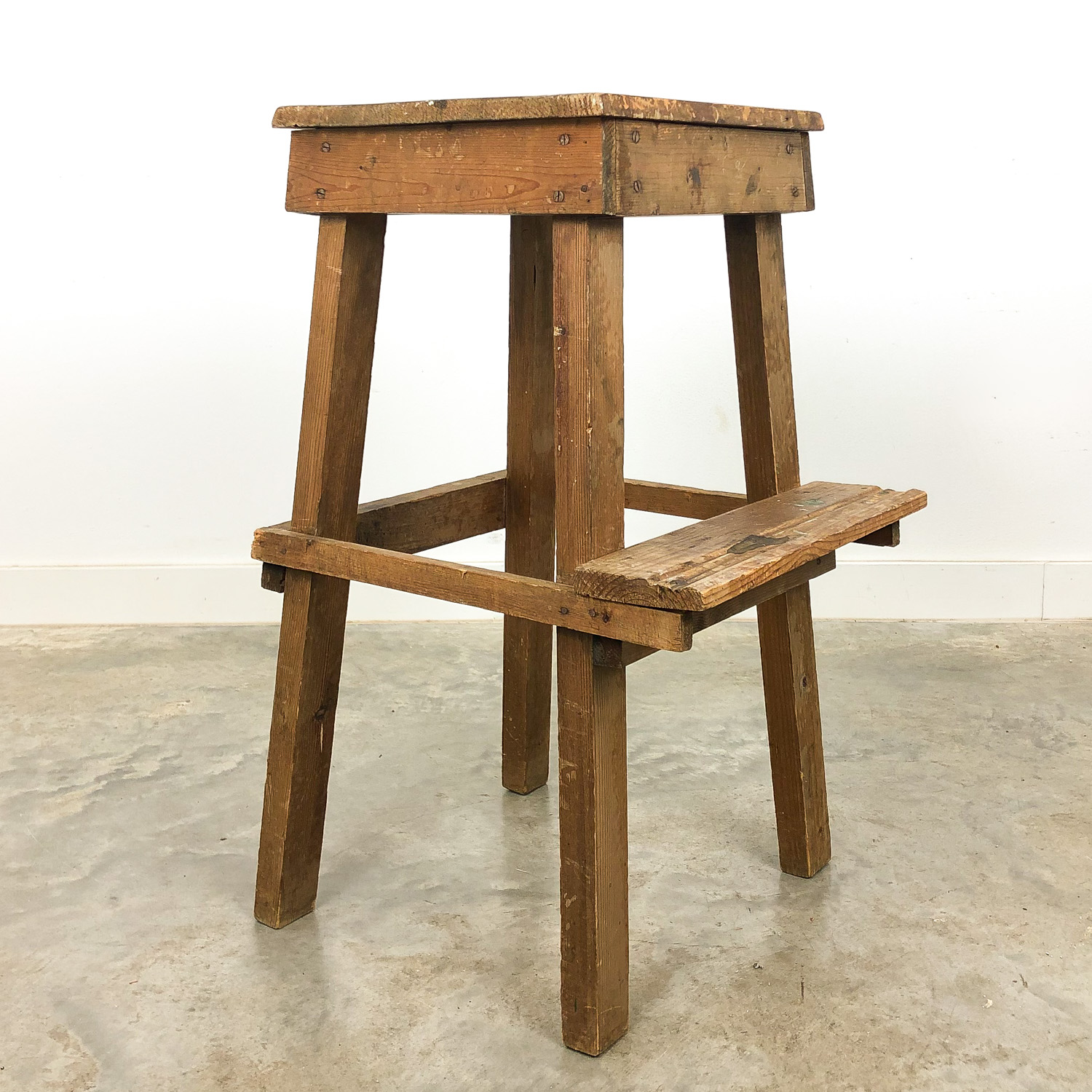 Industrial wooden stool high