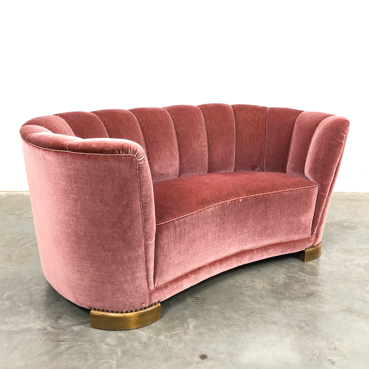 Vintage pink velvet two seater cocktail sofa