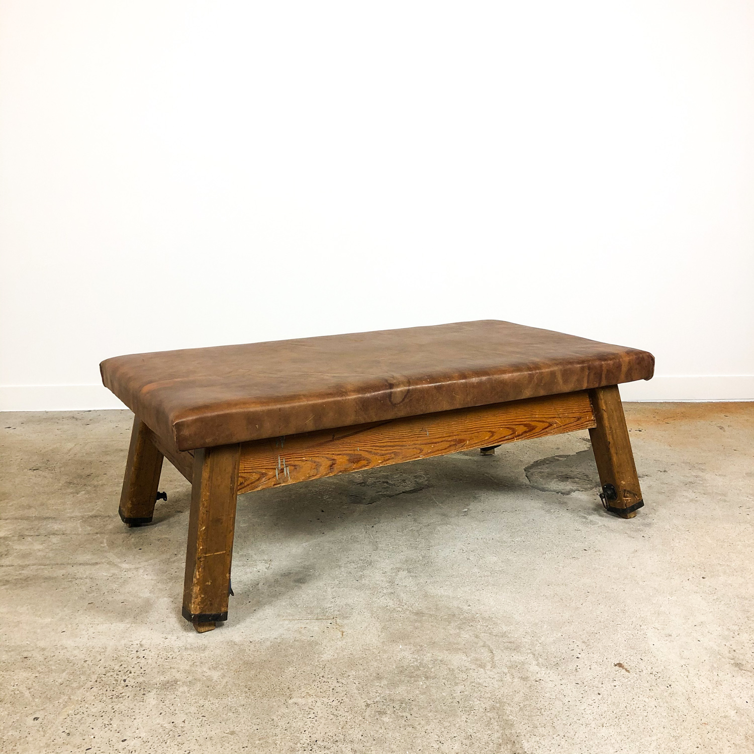Vintage leather gym table bench