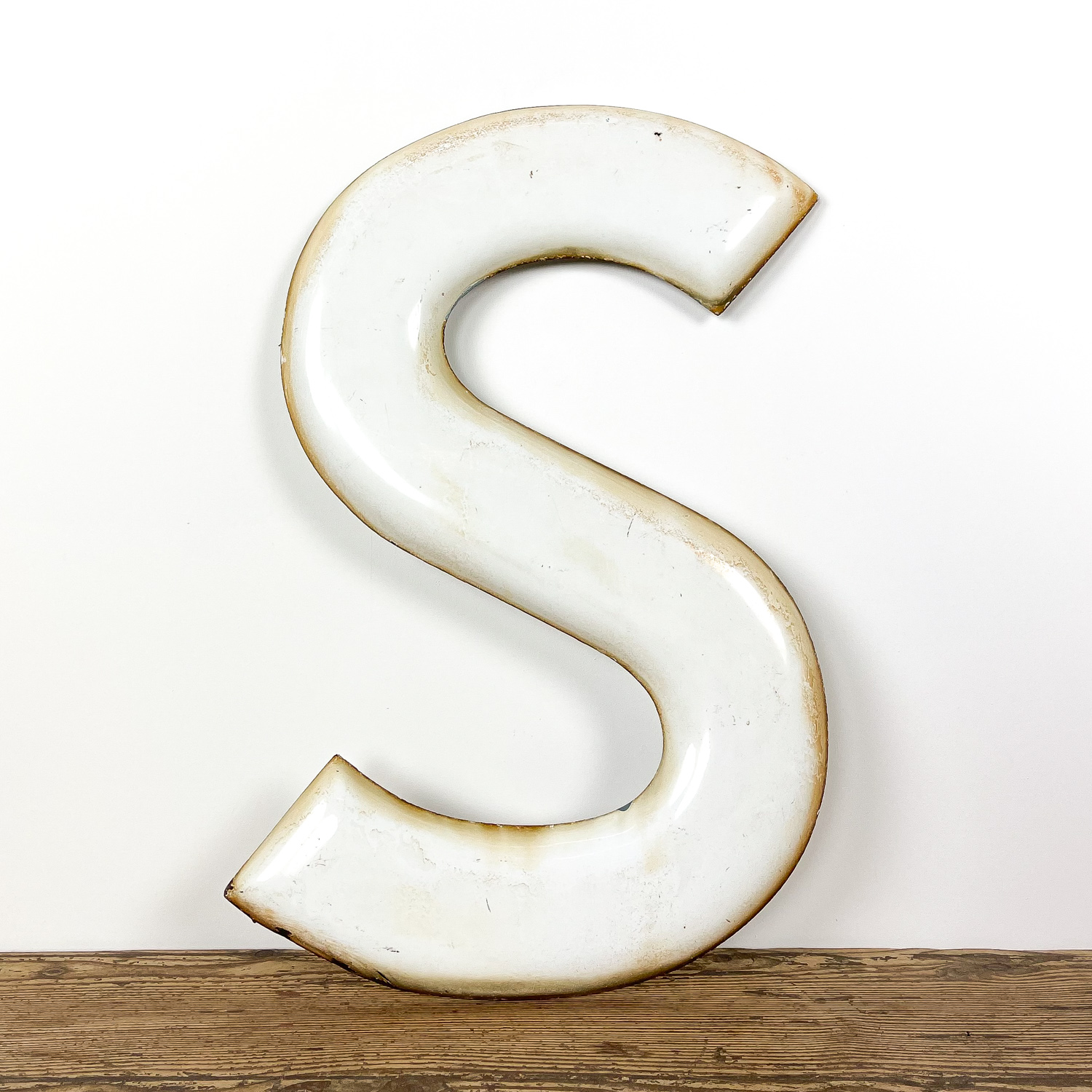 Vintage enamel wall sign letter S