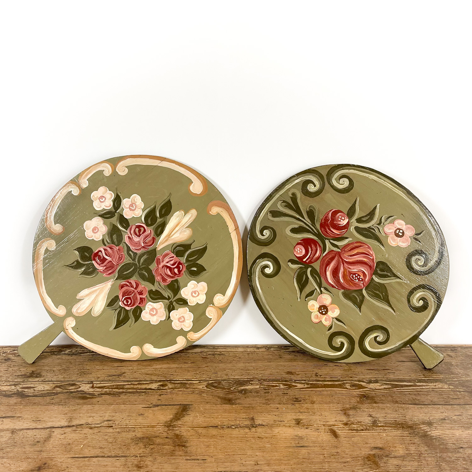 Set of two french antique painted bread boards