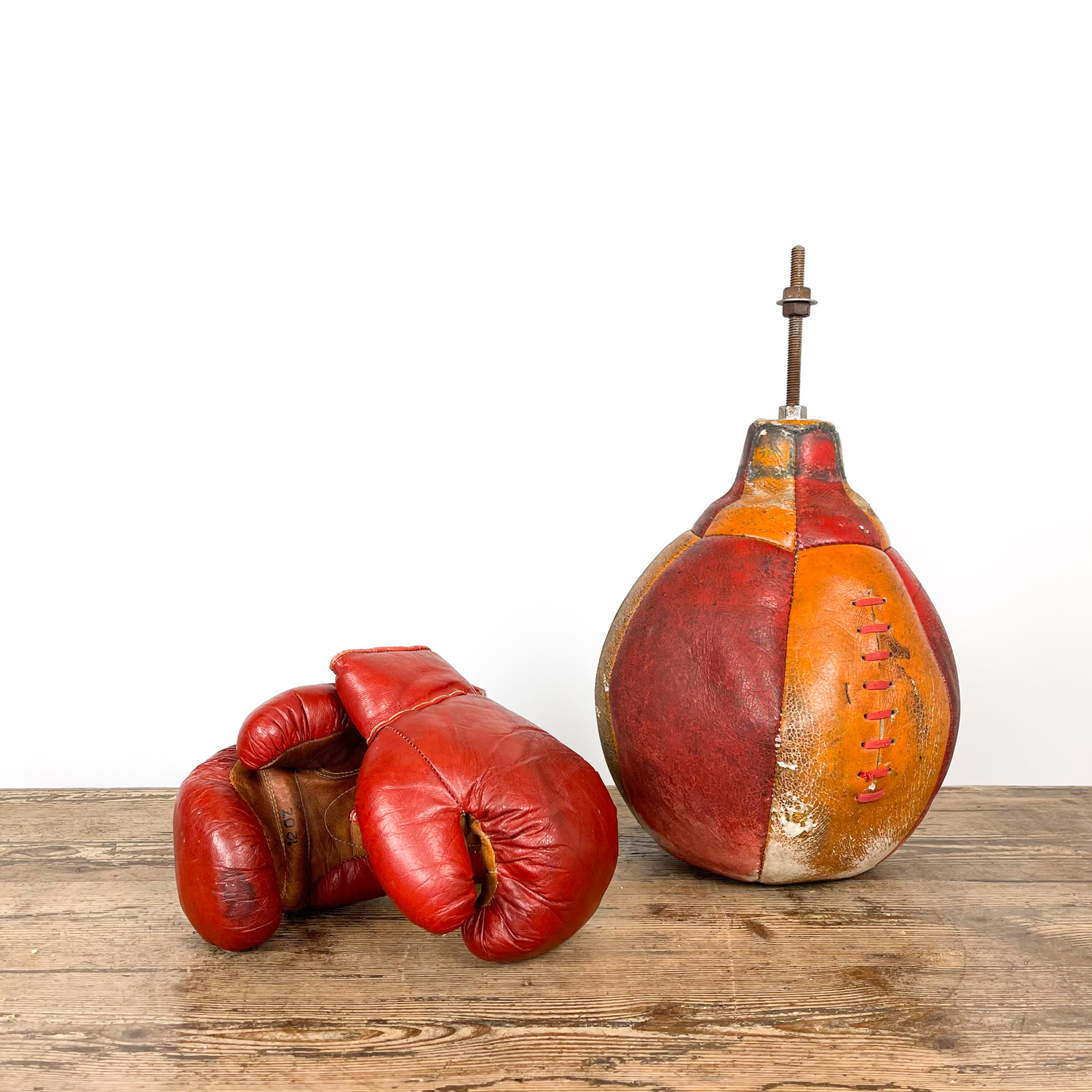 Vintage boxing set Gloves and punching bag