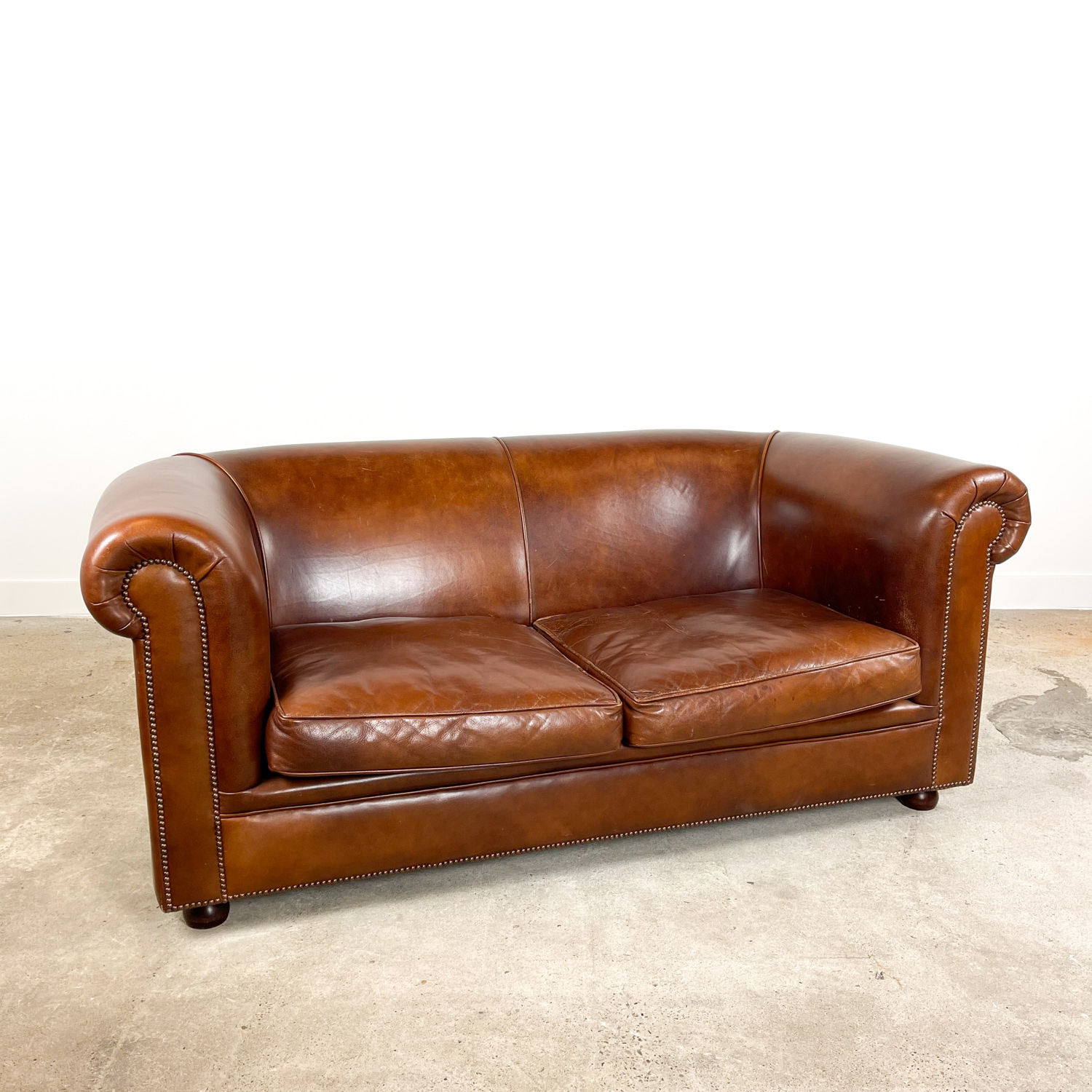 Vintage dark brown sheep leather 2 seater sofa Bendic
