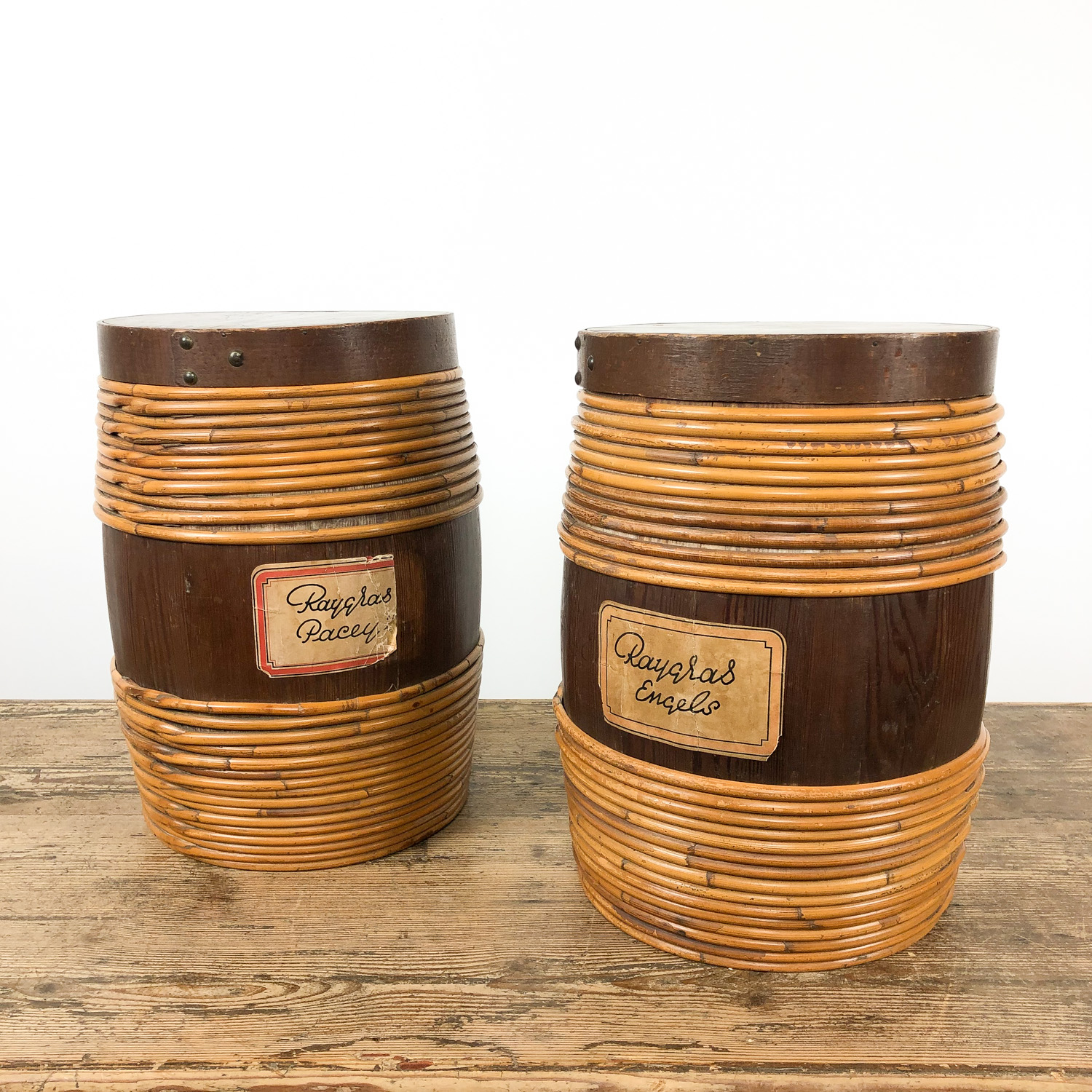 Set of two cocked wooden storage barrel with willow rods 19th century