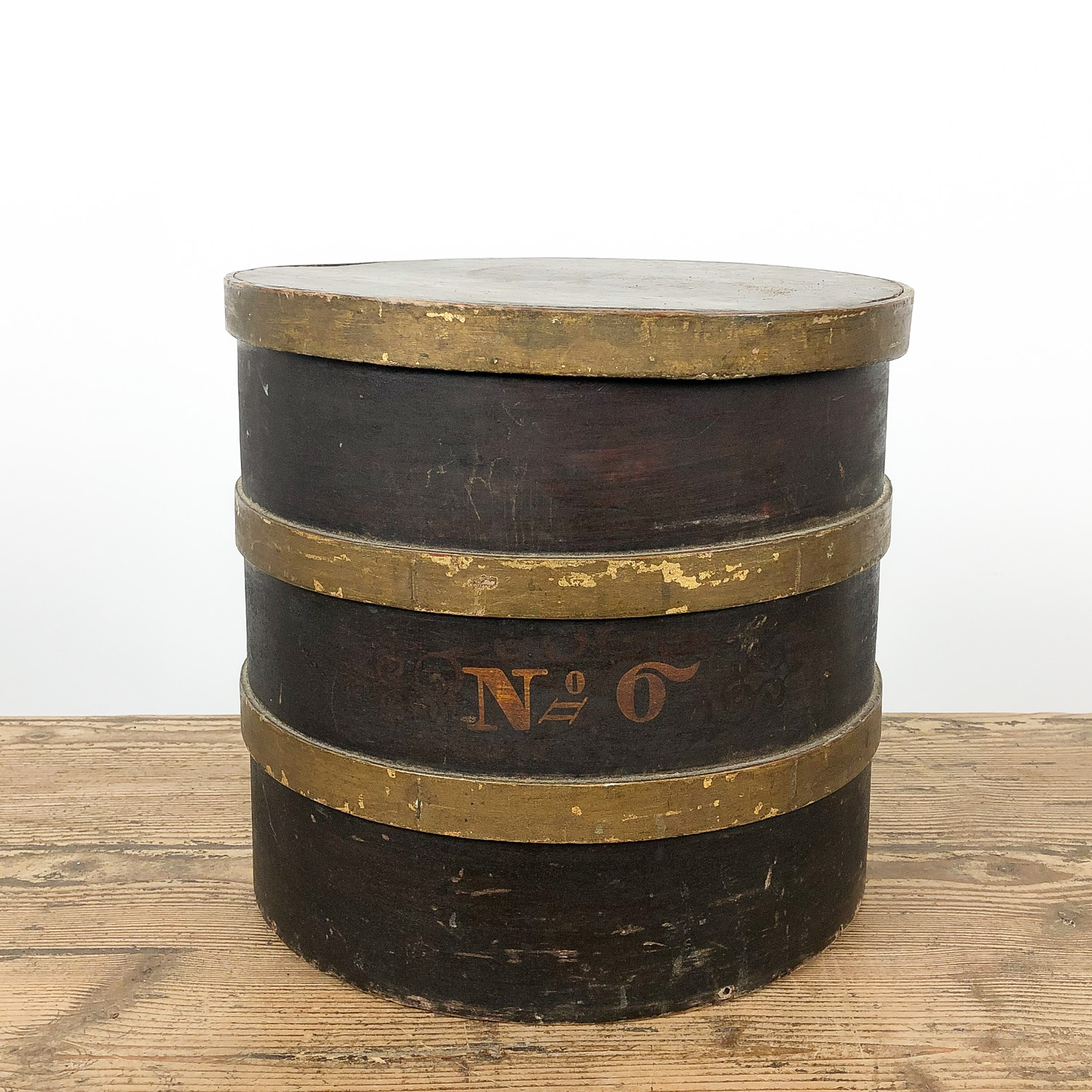 Antique brown gold painted bentwood storage box 19th century no6