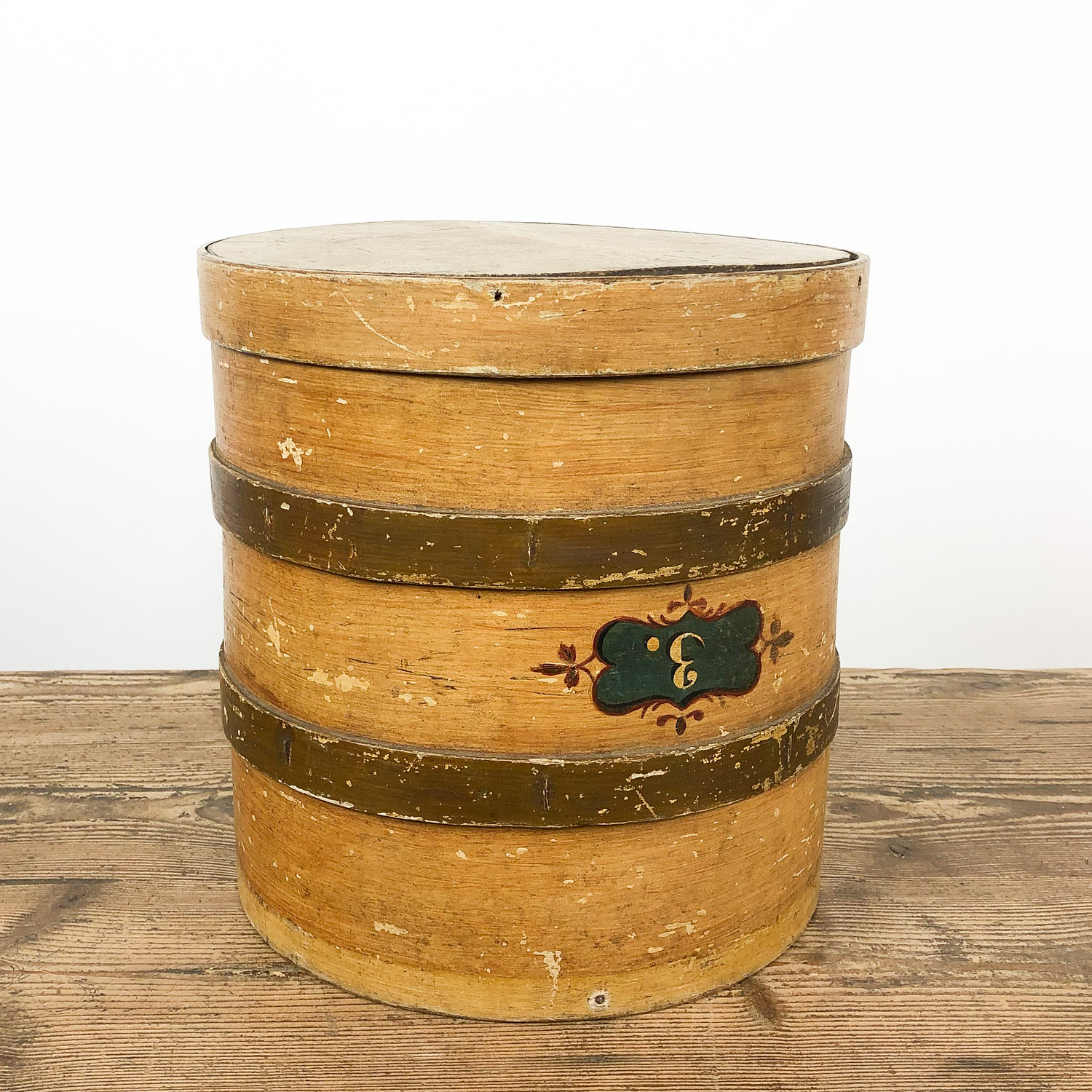 Antique yellow gold painted bentwood storage box 19th century no3