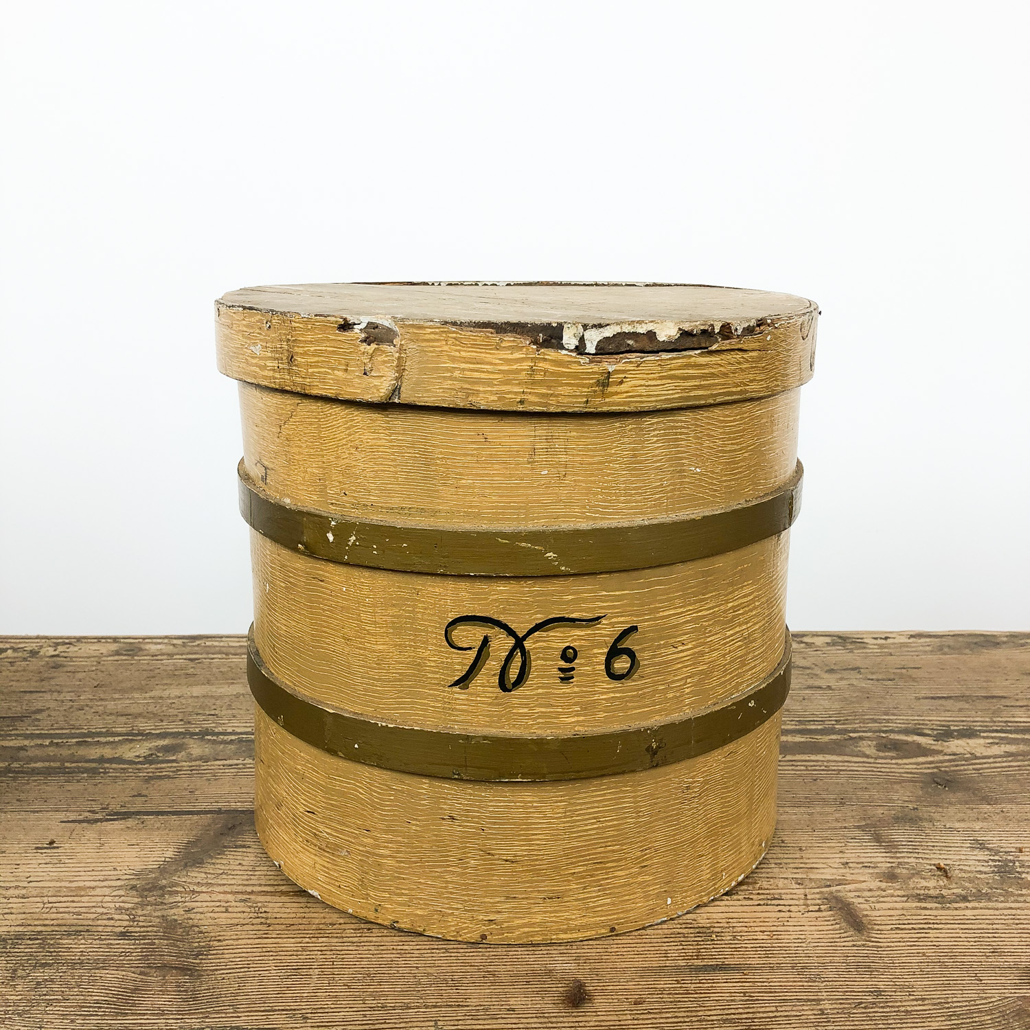 Antique yellow gold painted bentwood storage box 19th century no6