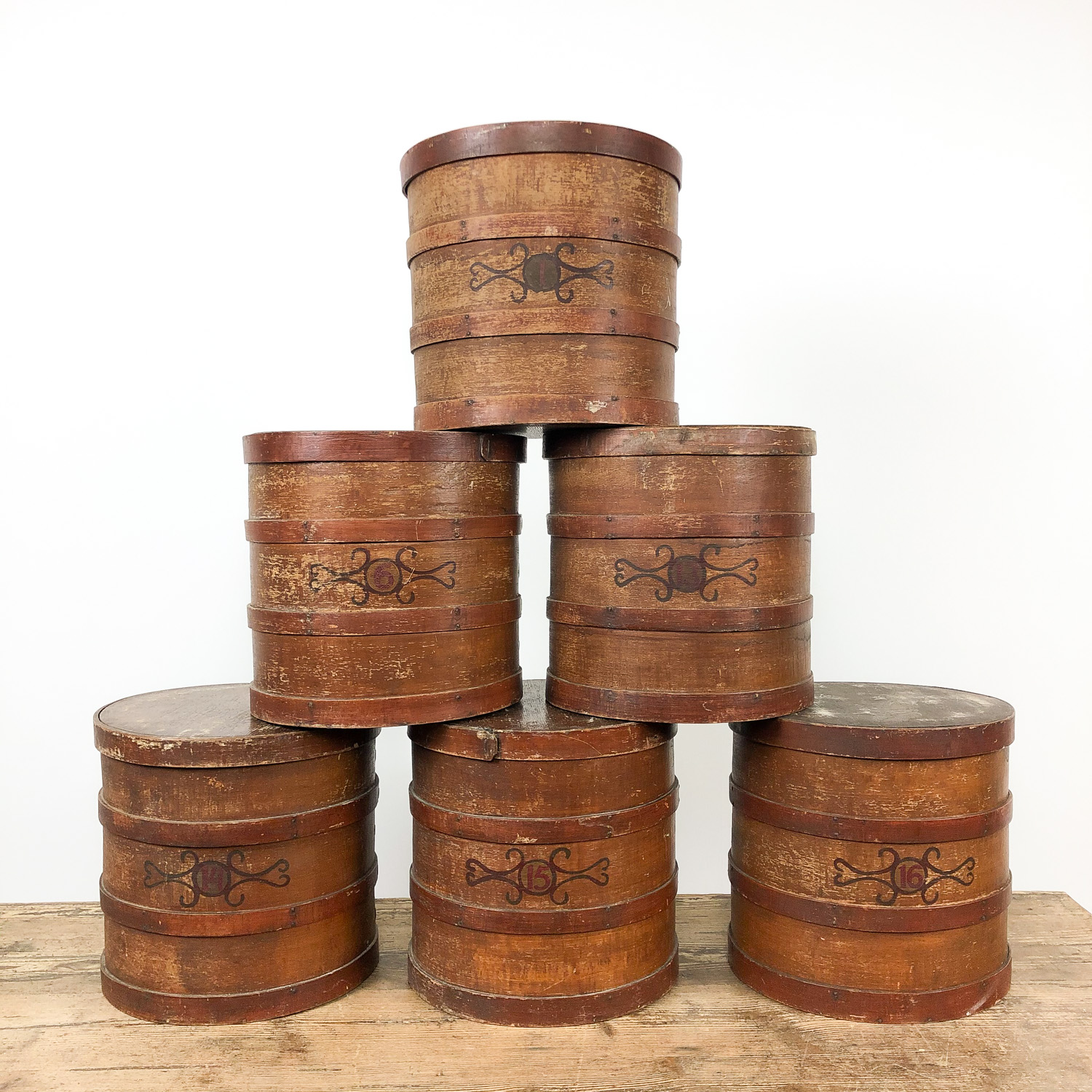 Set of 6 antique tobacco shop storage boxes Dutch 19th century