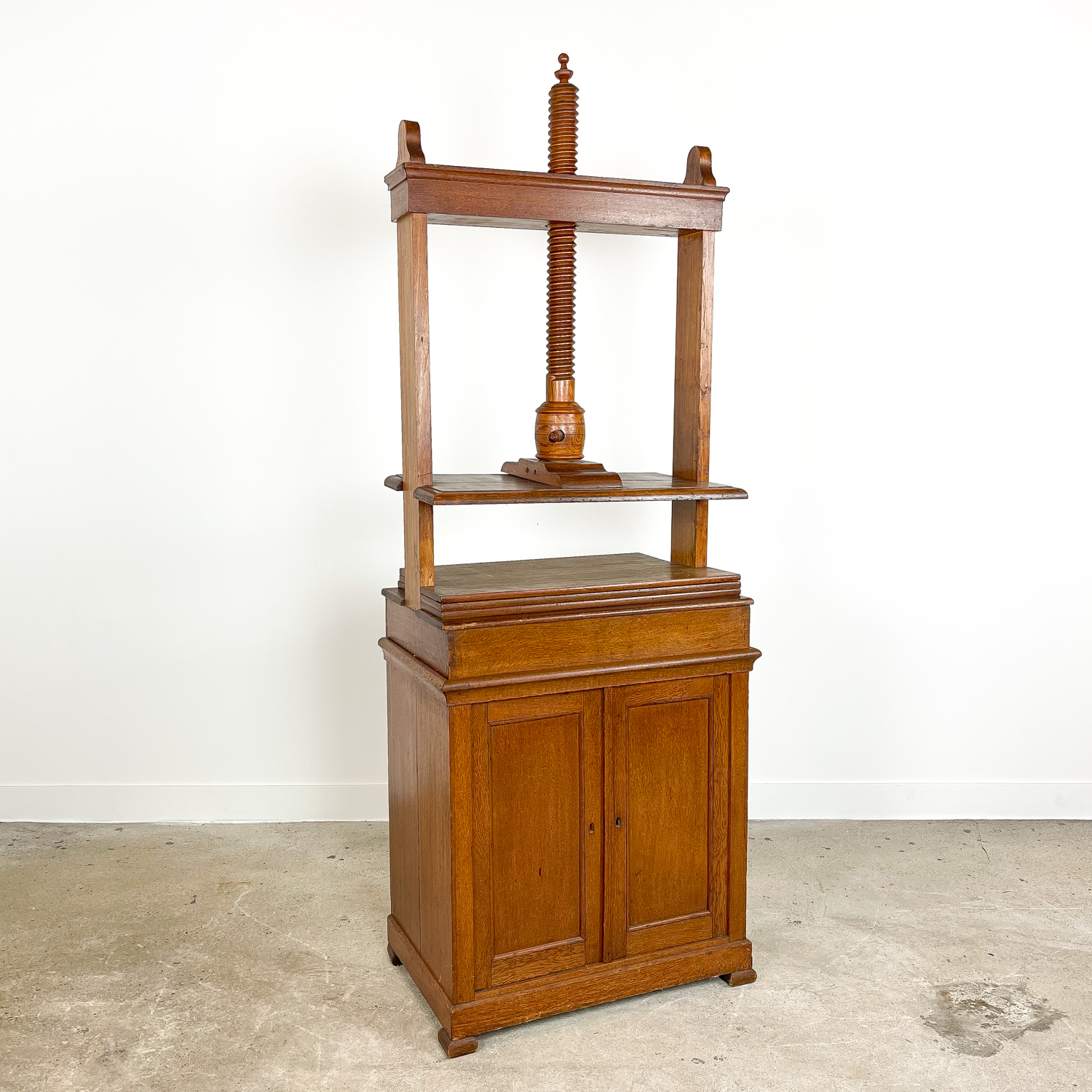 Antique oak linen book press
