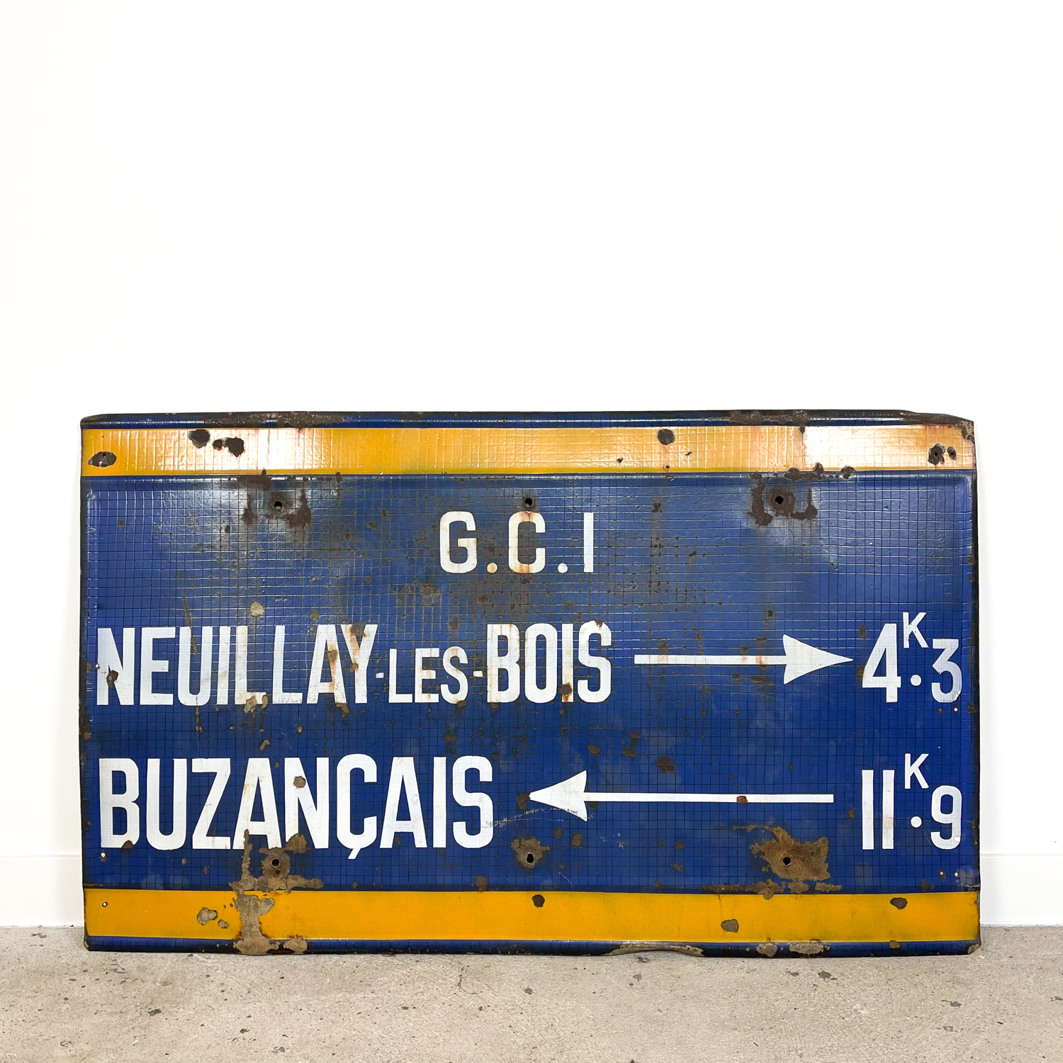 Vintage industrial enamel bus station sign france