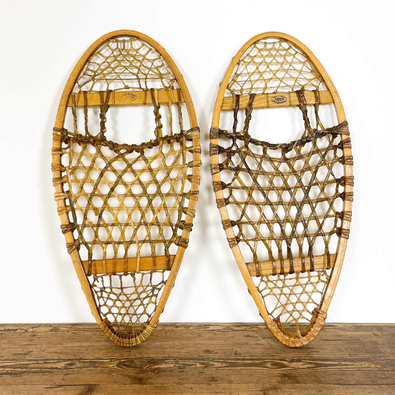 Pair of vintage Faber snow shoes