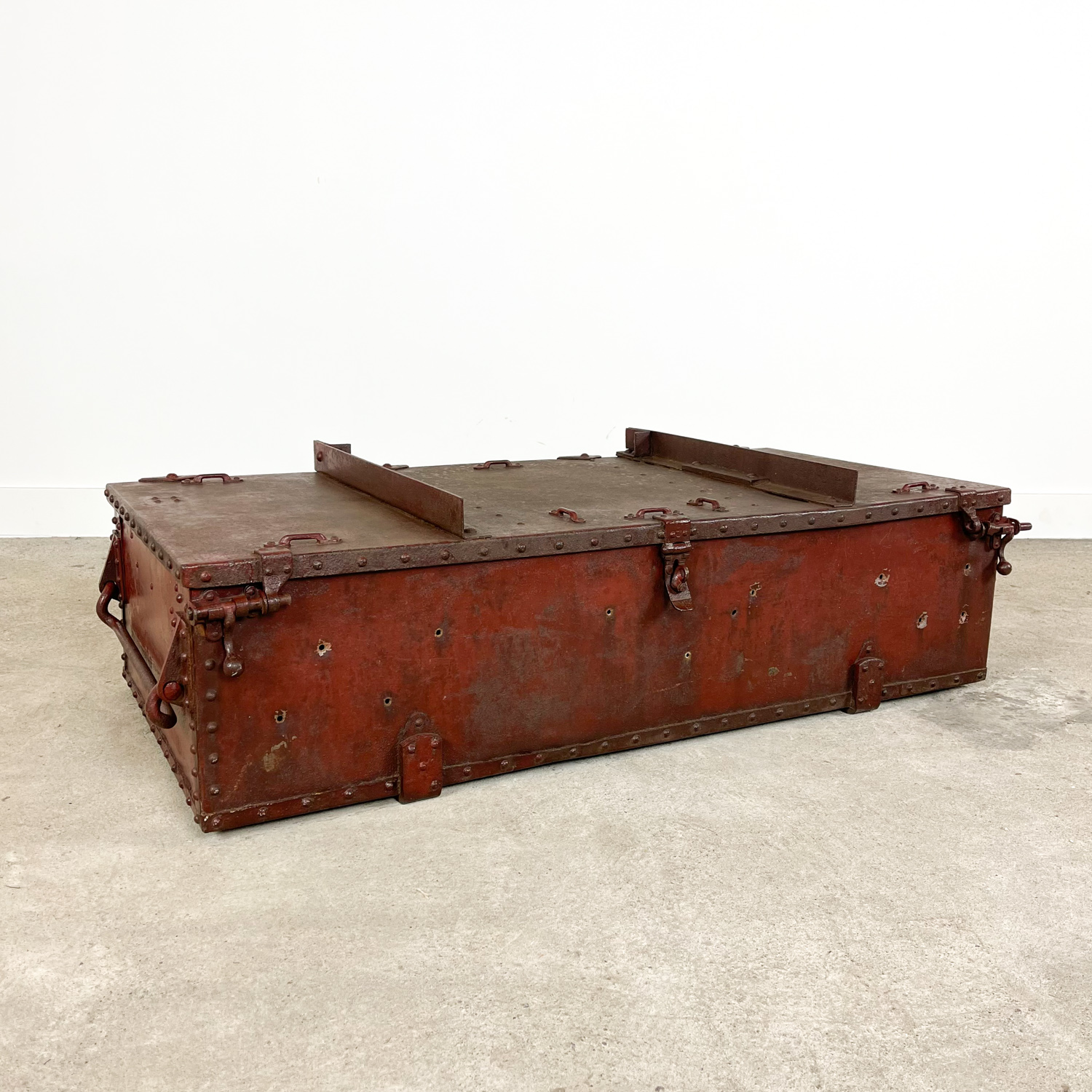 Vintage industrial red metal trunk French Fire fighters