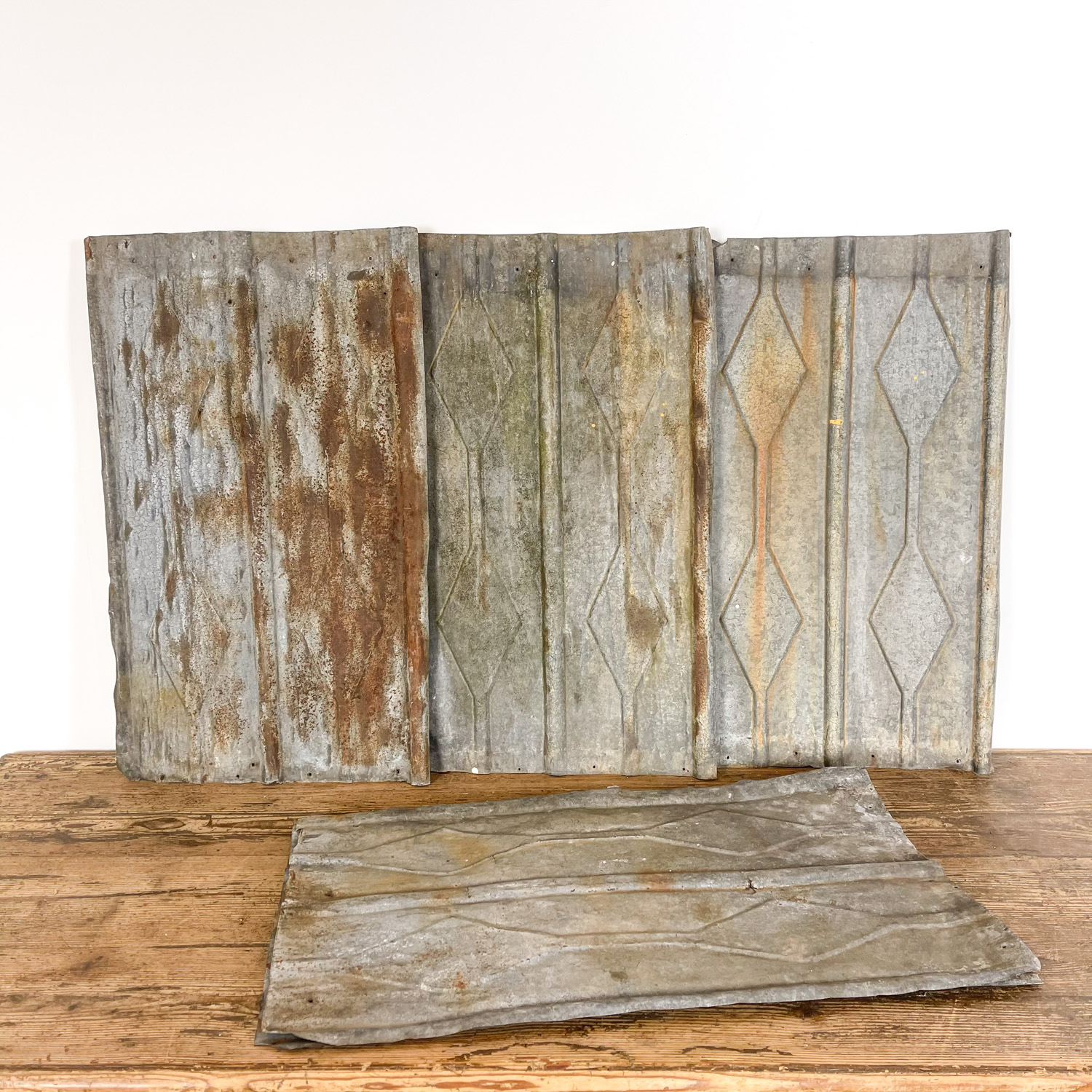 French antique galvanized wall panels rhombus