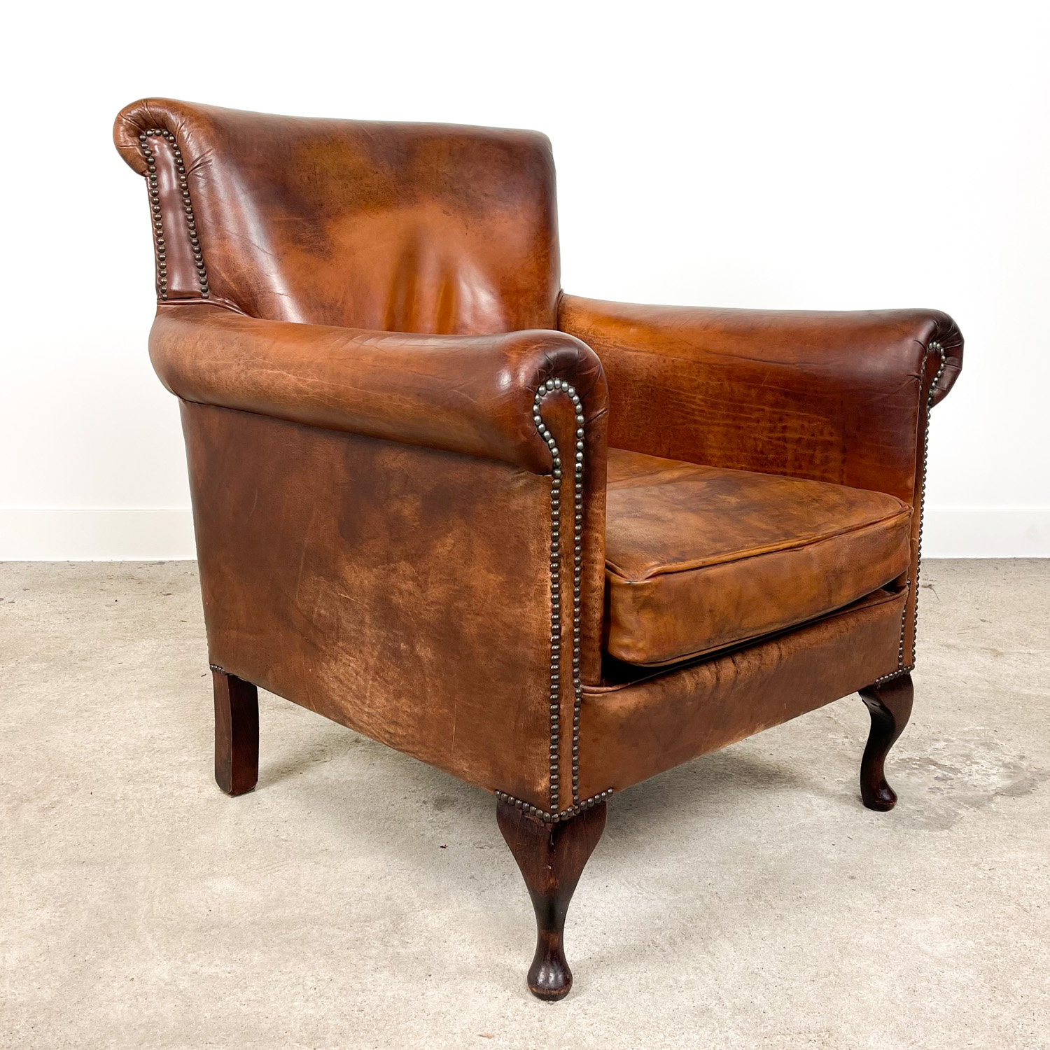 Big vintage sheep leather armchair