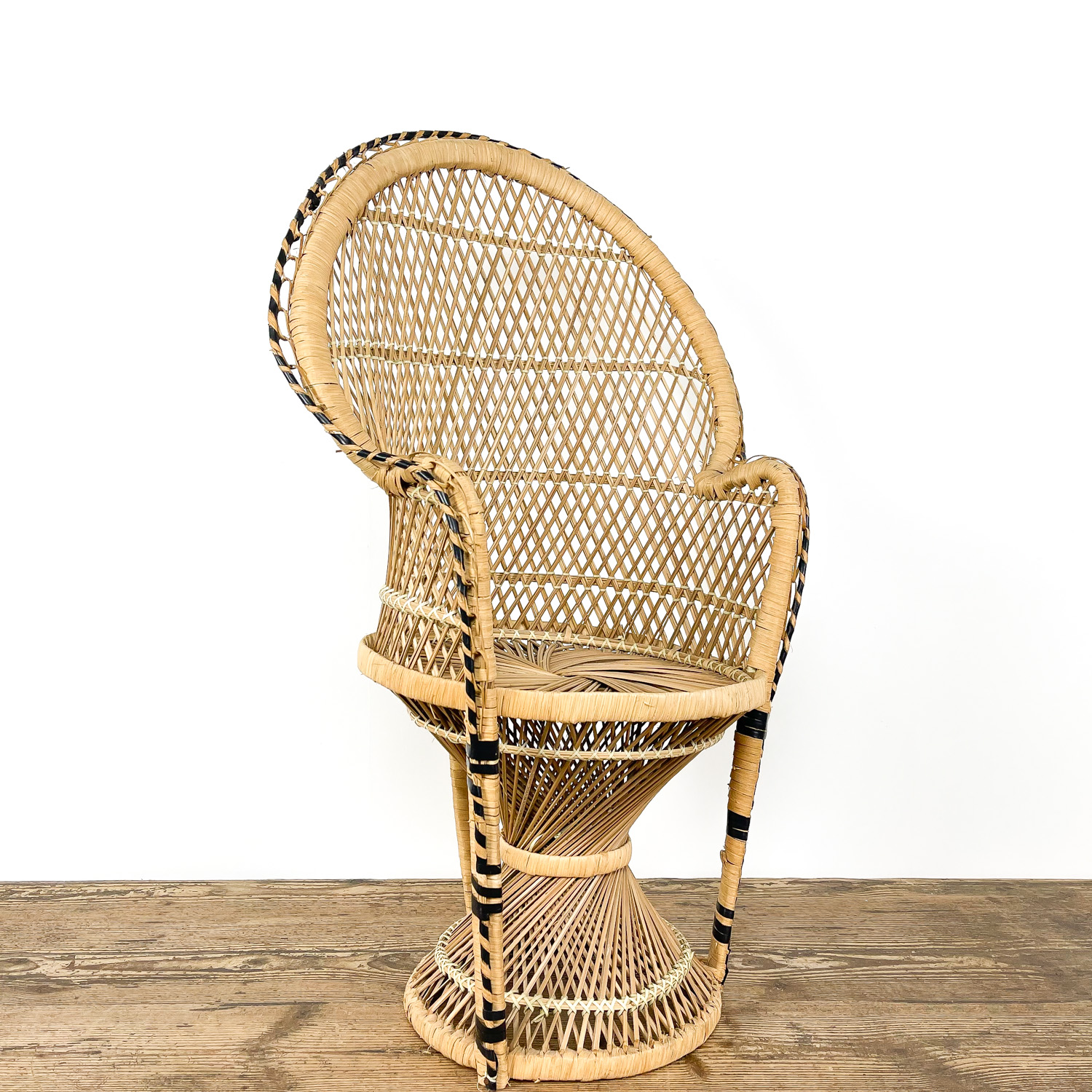 Vintage rattan childrens peacock chair