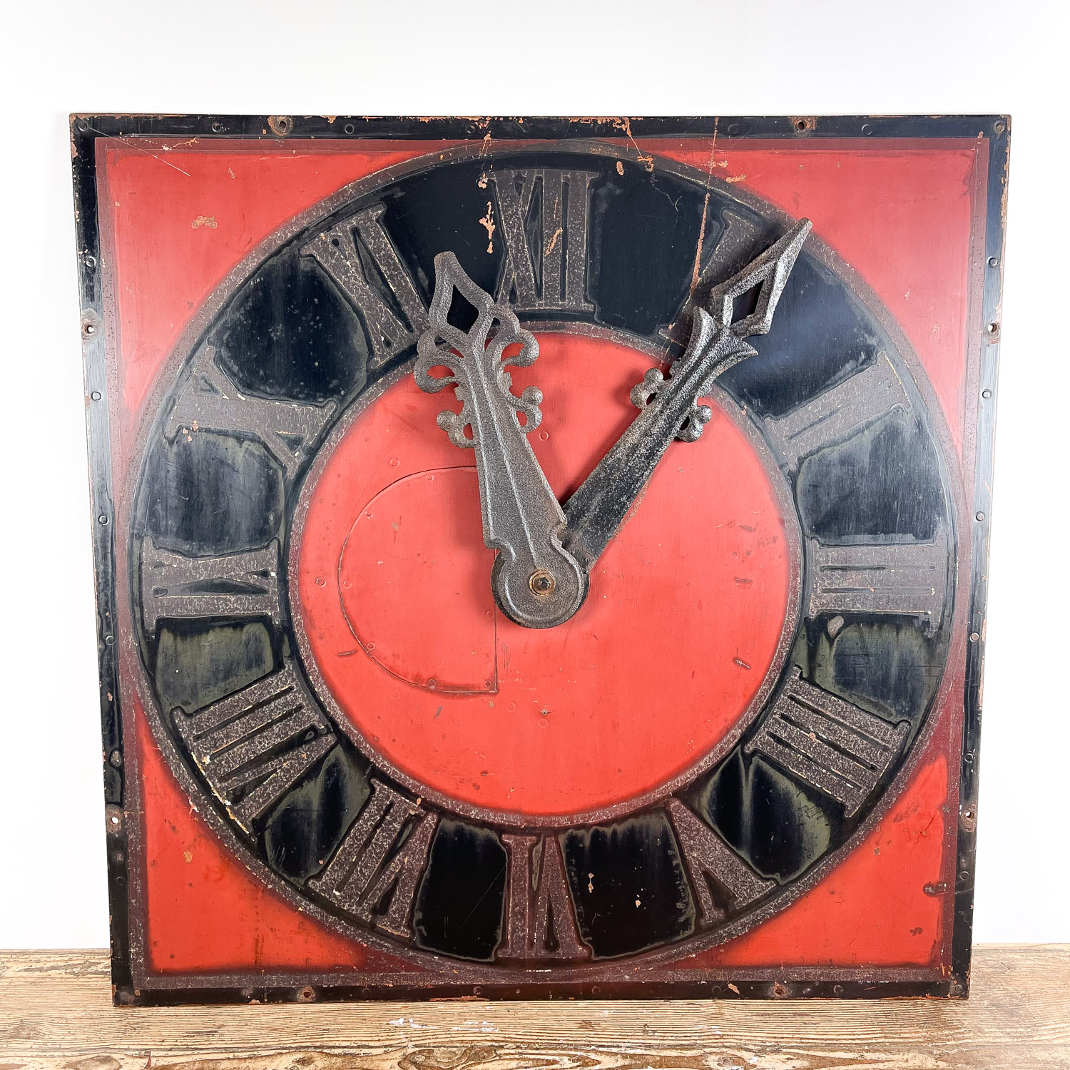 Vintage industrial metal church clock face