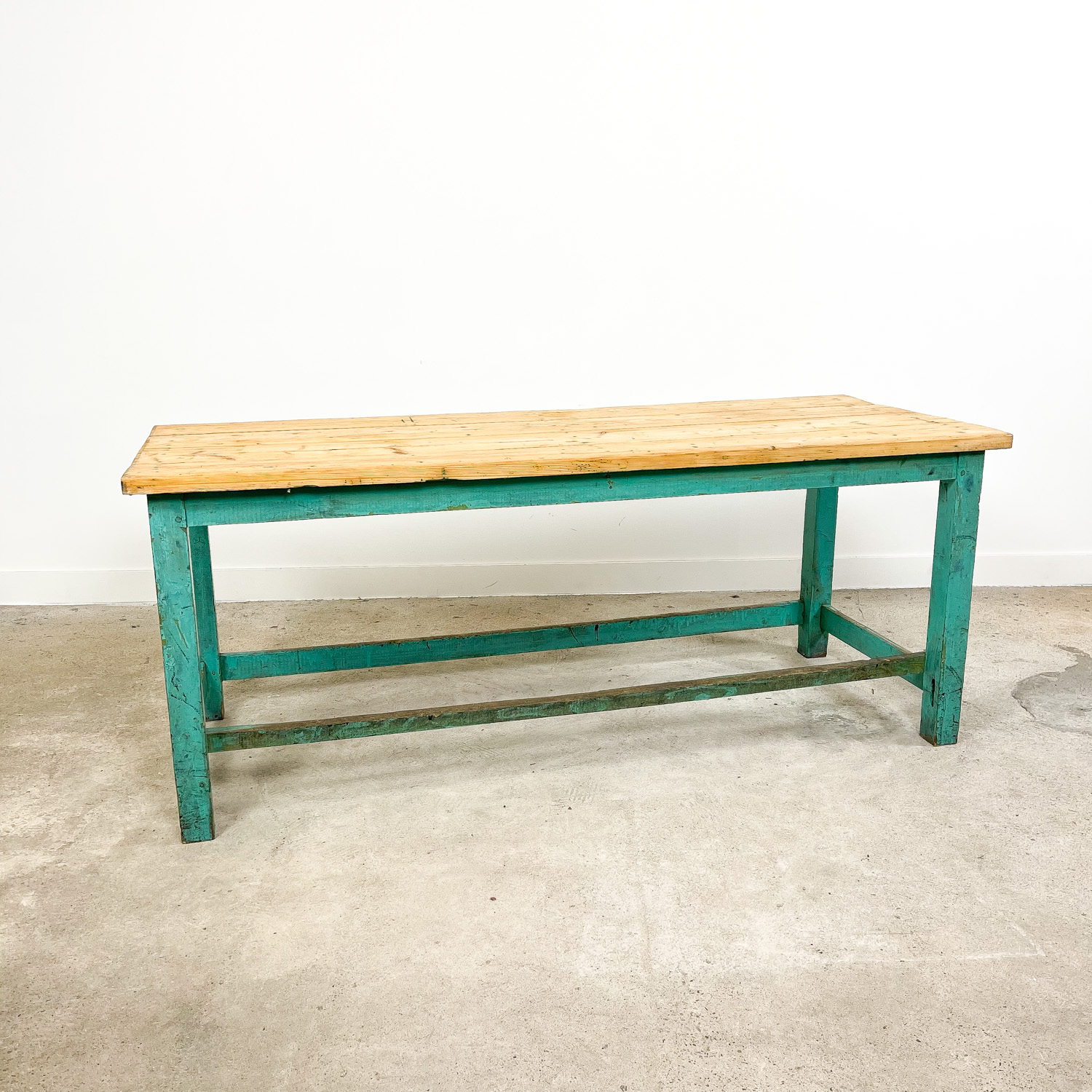 vintage industrial painted blue green wooden work table