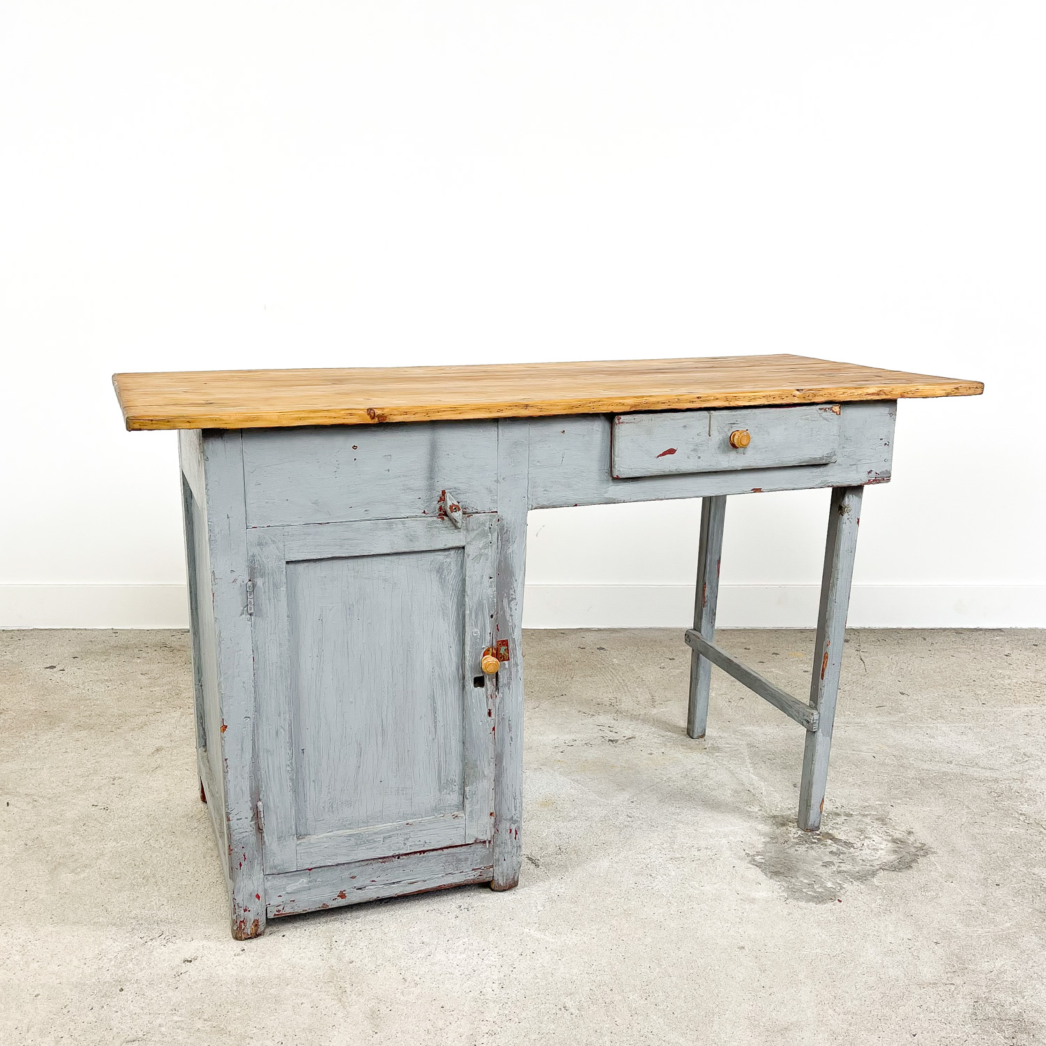 Small vintage industrial grey painted wooden desk