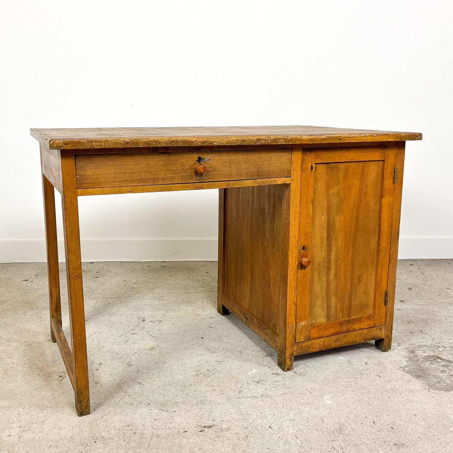 Small industrial wooden desk