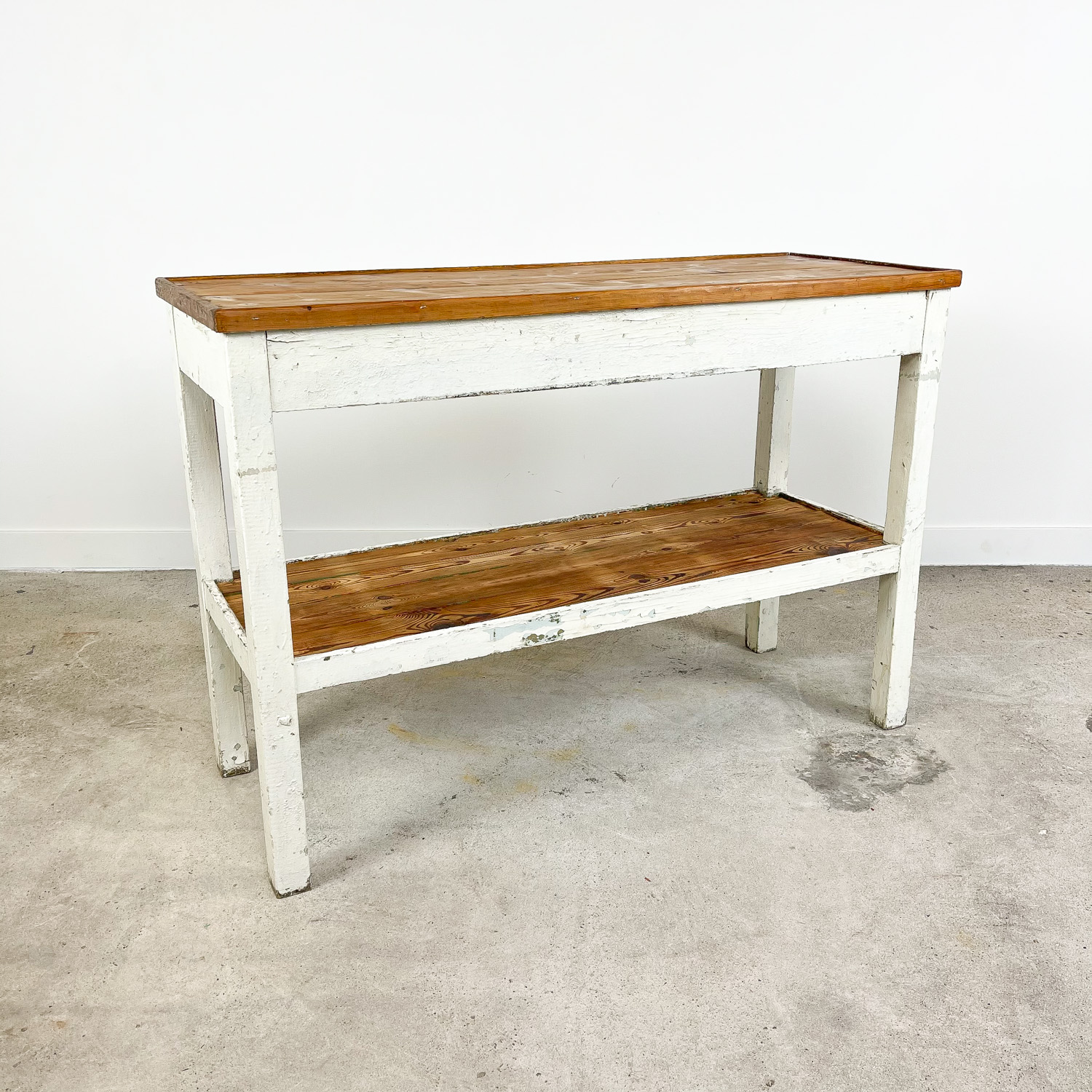 French brocant white painted side table