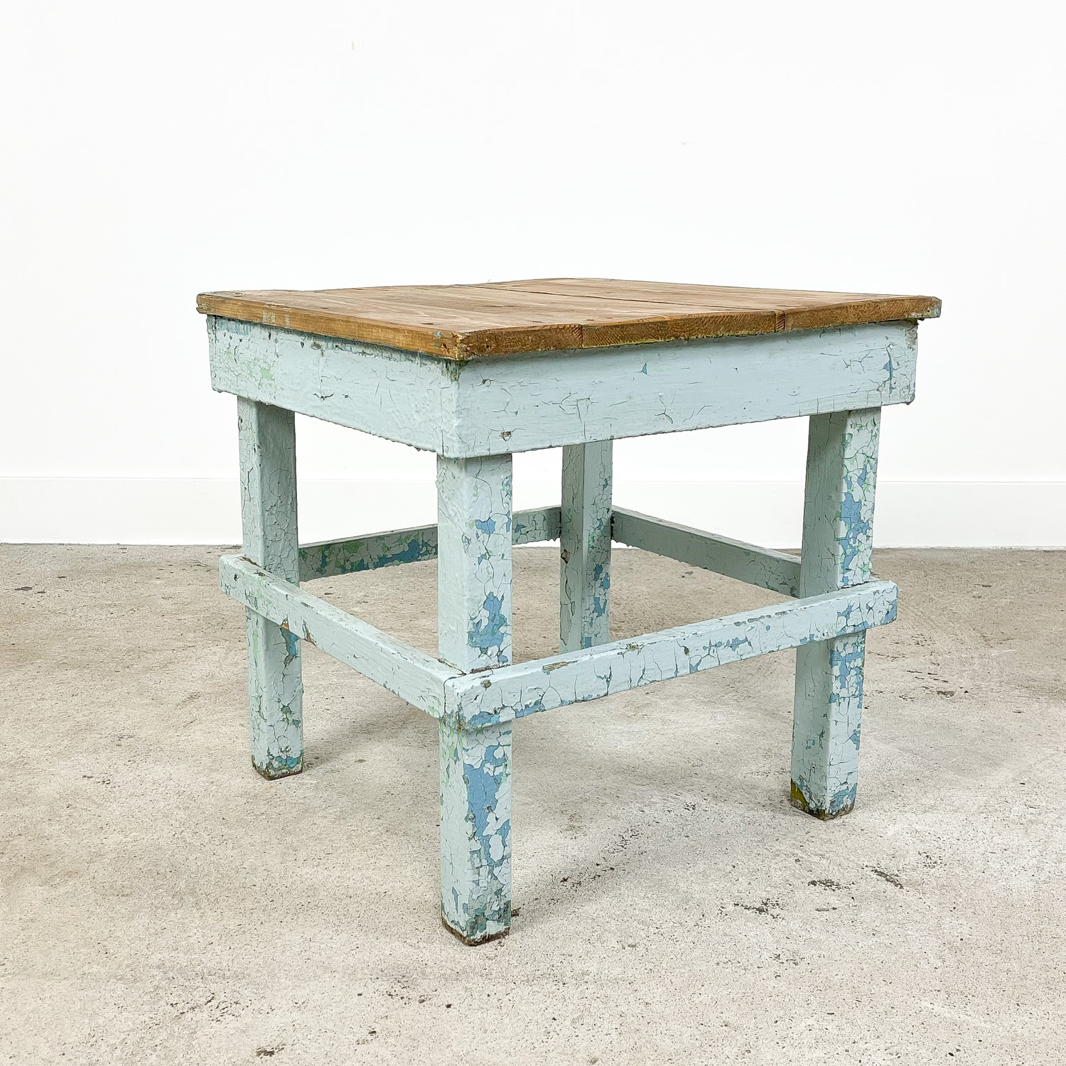 Industrial painted wooden factory side table light blue