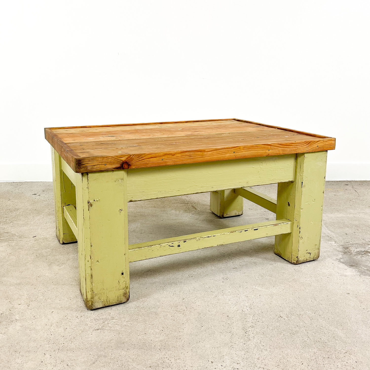 Industrial painted wooden factory table green