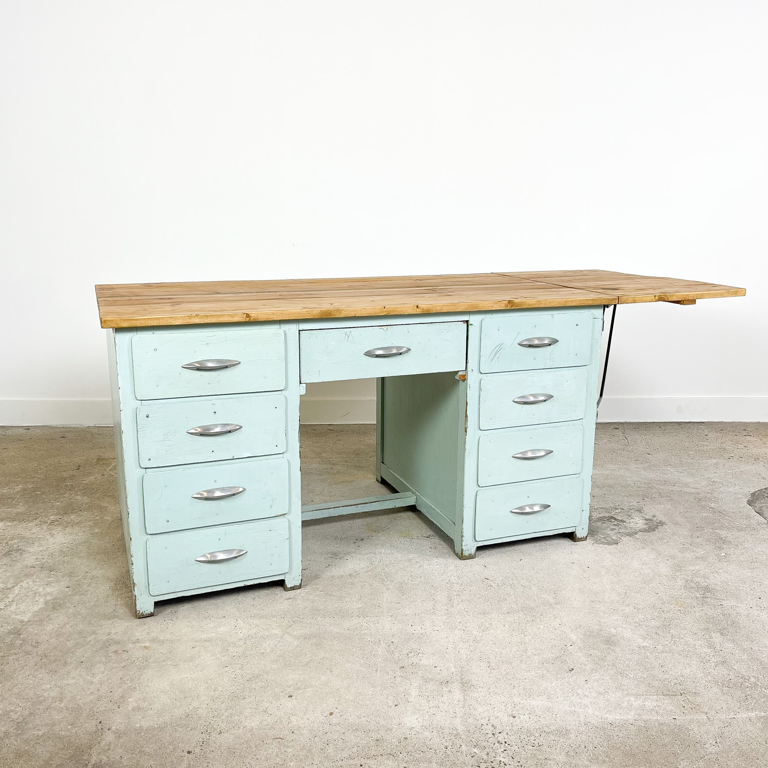 Vintage industrial painted wooden desk with extendable top light blue A