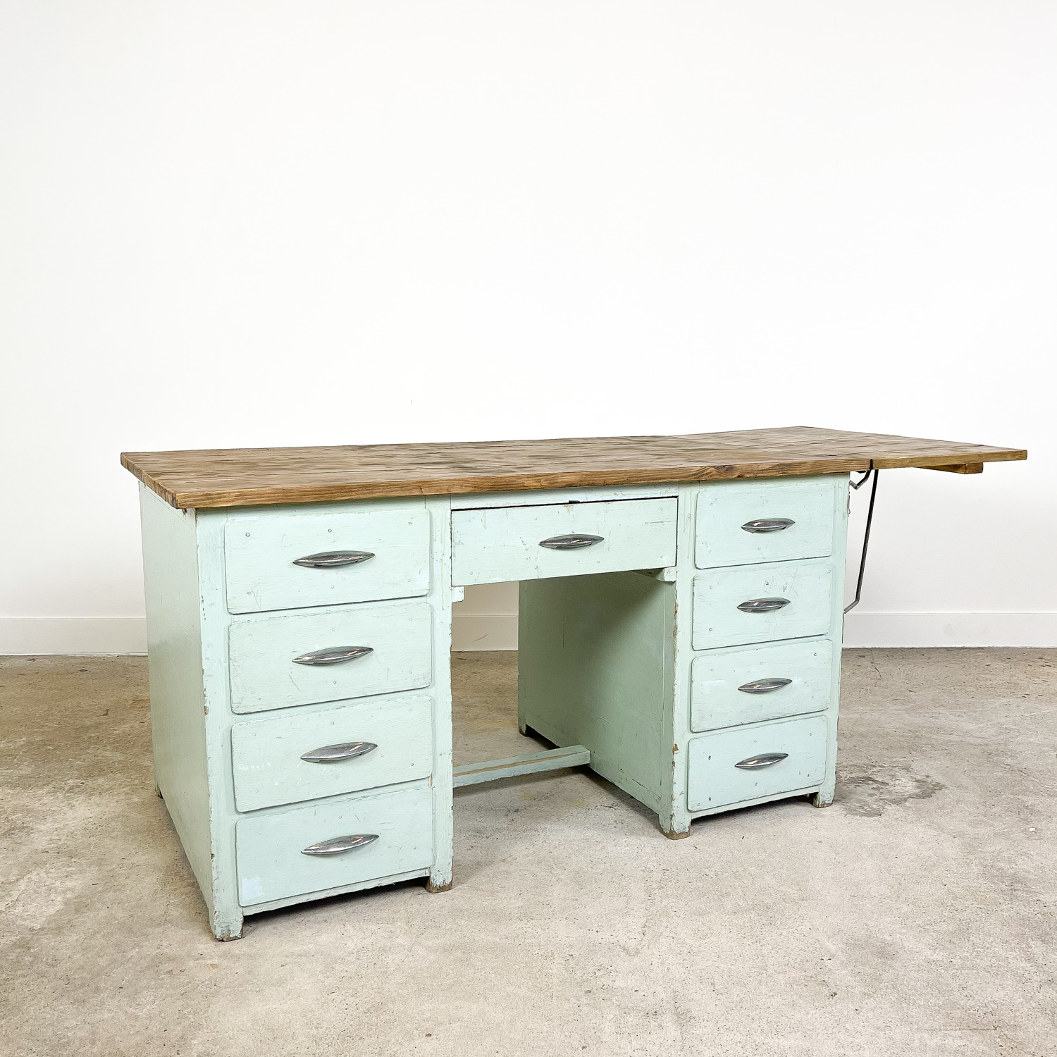 Vintage industrial painted wooden desk with extendable top light blue B