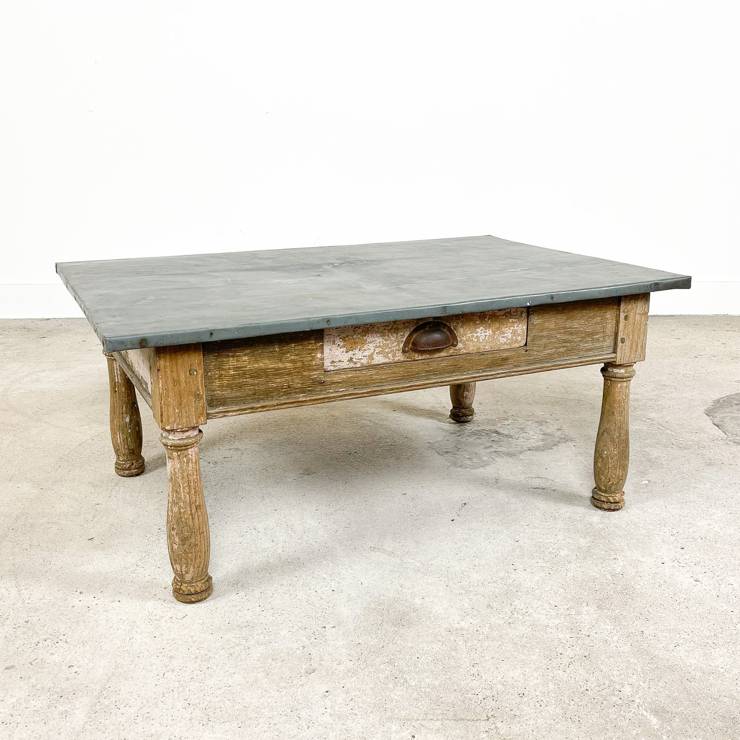 Antique french coffee table with zinc top